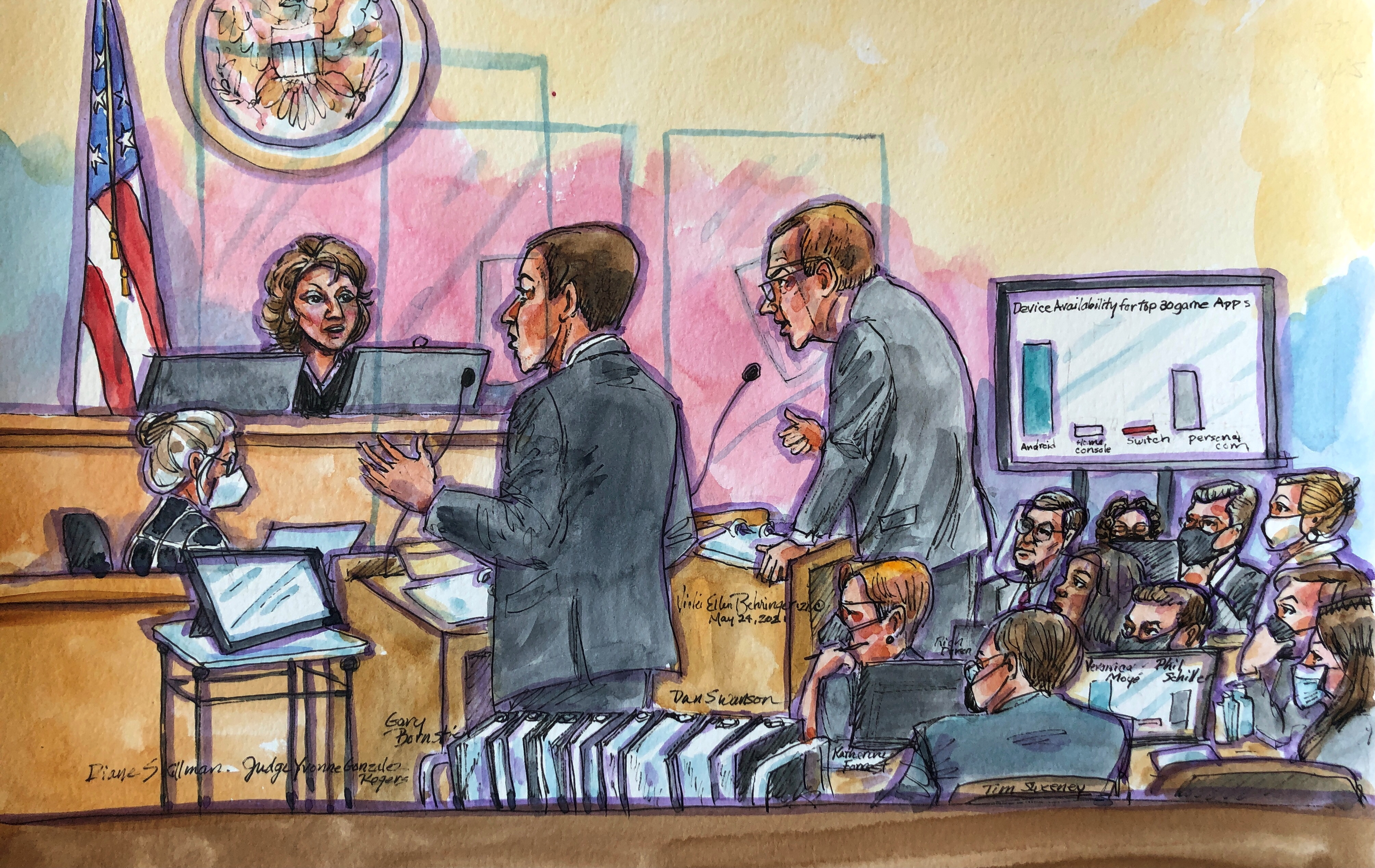 Lawyers from Apple and Epic speak with Judge Yvonne Gonzalez Rogers during a weeks-long antitrust trial at federal court in Oakland, California, U.S. May 24, 2021 in this courtroom sketch.  REUTERS/Vicki Behringer