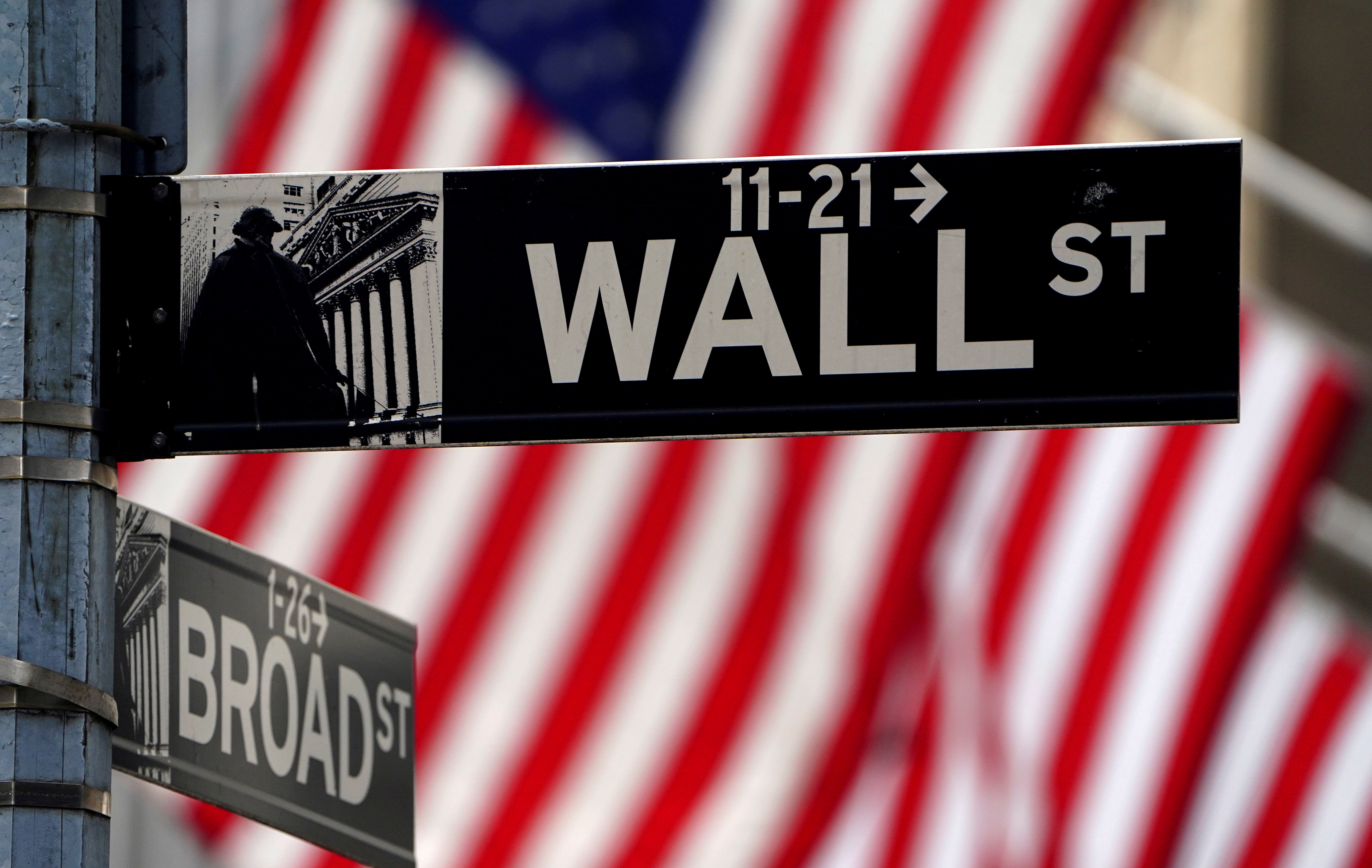 A Wall Street sign outside the New York Stock Exchange in the Manhattan borough of New York City, New York, U.S., April 16, 2021. REUTERS/Carlo Allegri