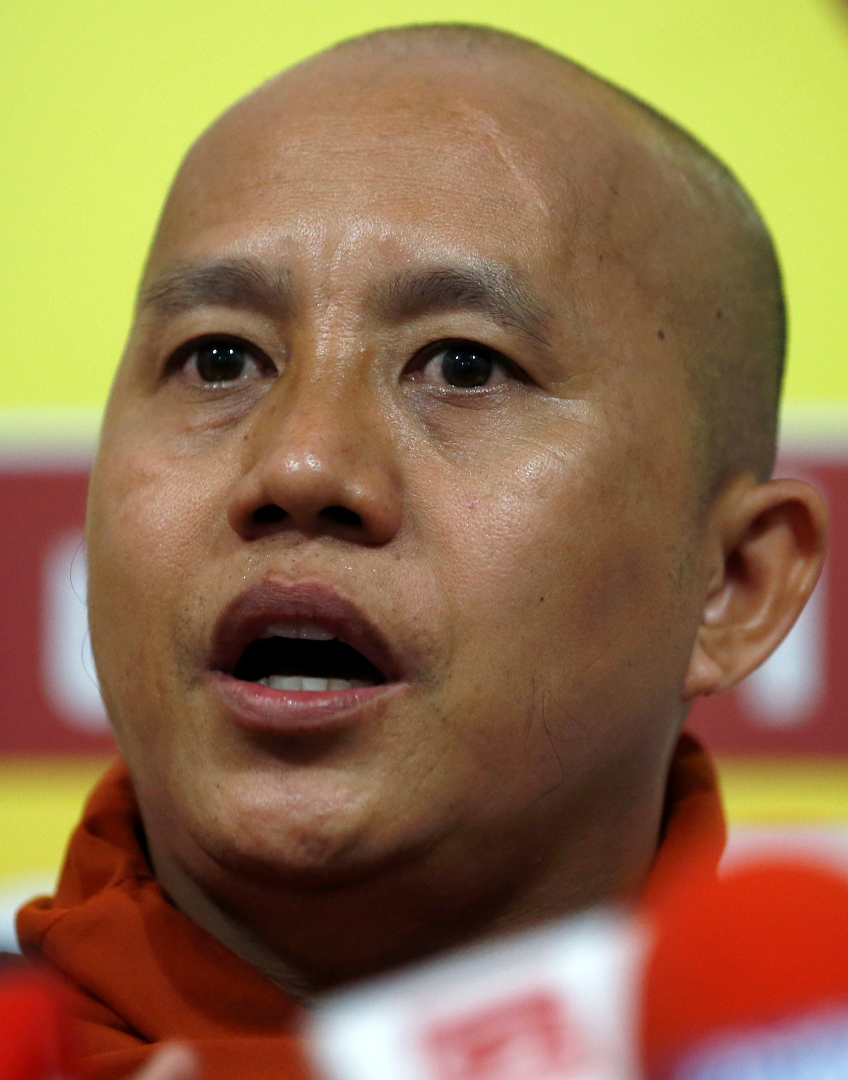 Buddhist monk Ashin Wirathu speaks during a news conference in Colombo September 30, 2014. REUTERS/Dinuka Liyanawatte/File Photo