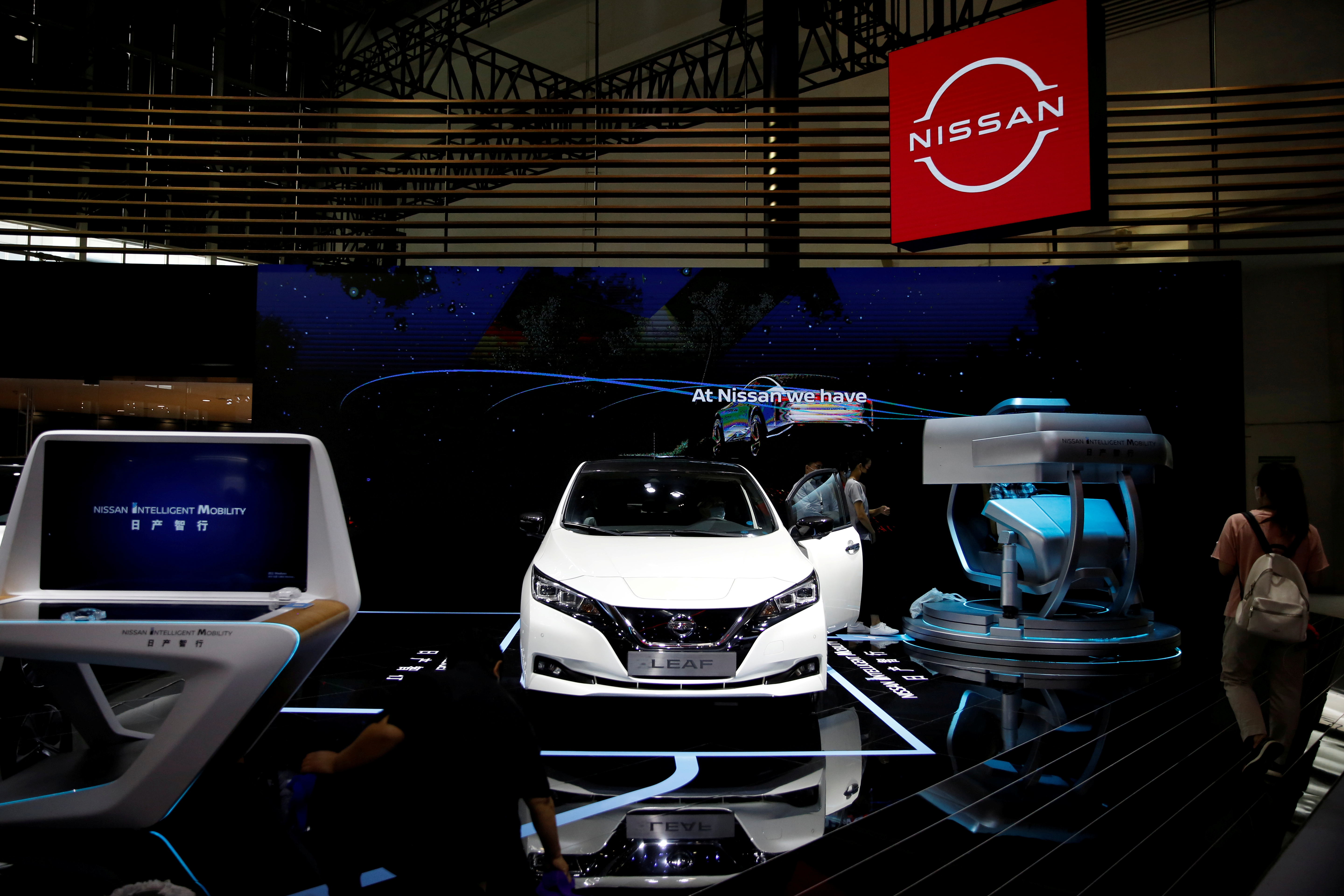 Nissan's electric vehicle (EV) Leaf is displayed at the Nissan's booth at the Beijing International Automotive Exhibition, or Auto China show, in Beijing, China September 27,  2020. REUTERS/Tingshu Wang