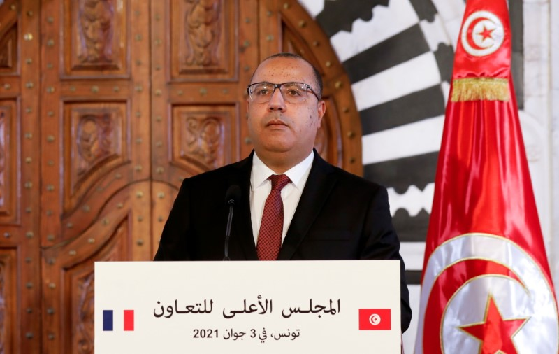 Tunisian Prime Minister Hichem Mechichi appears in a news conference in Tunis, Tunisia, on June 3, 2021. REUTERS/Zoubeir Souissi/File Photo