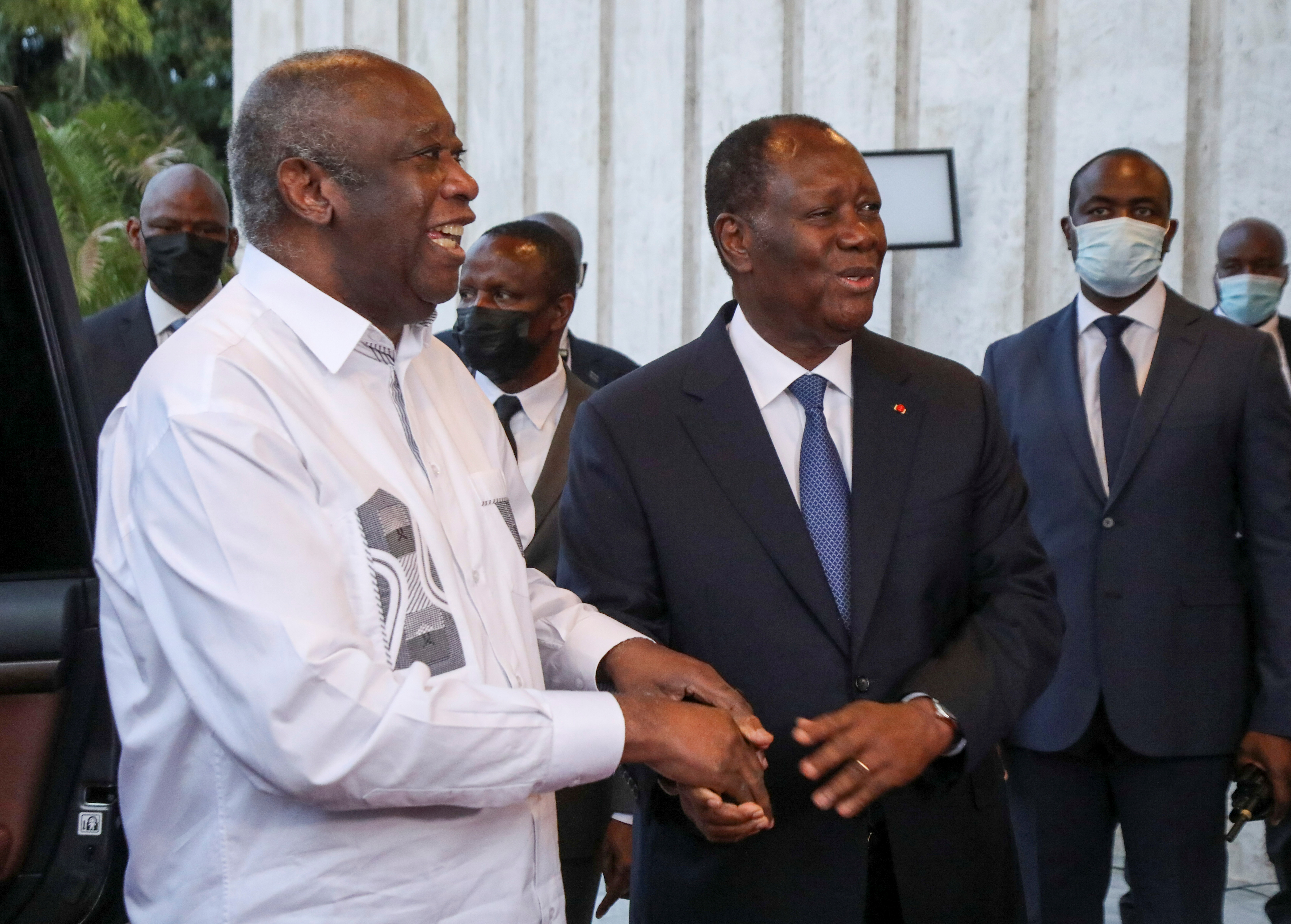 Ivory Coast's President Alassane Ouattara meets with former President Laurent Gbagbo at the presidential palace in Abidjan, Ivory Coast July 27, 2021. REUTERS/Luc Gnago