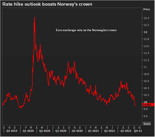 Norwegian krone rallies to rate hike outlook
