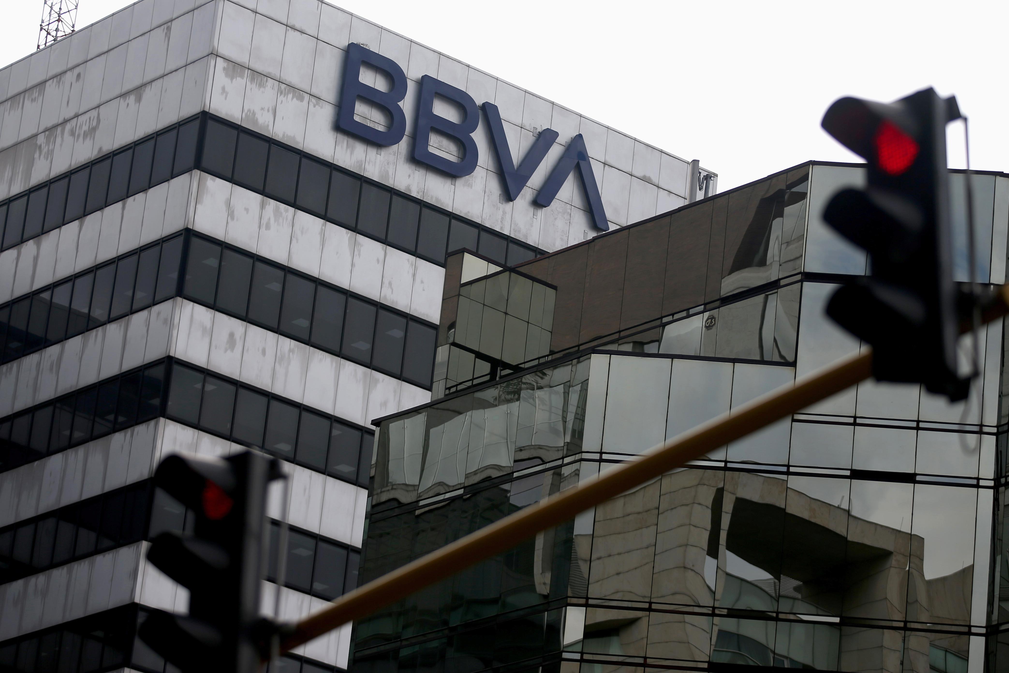 BBVA bank logo is pictured in Bogota, Colombia February 14, 2020. REUTERS/Luisa Gonzalez