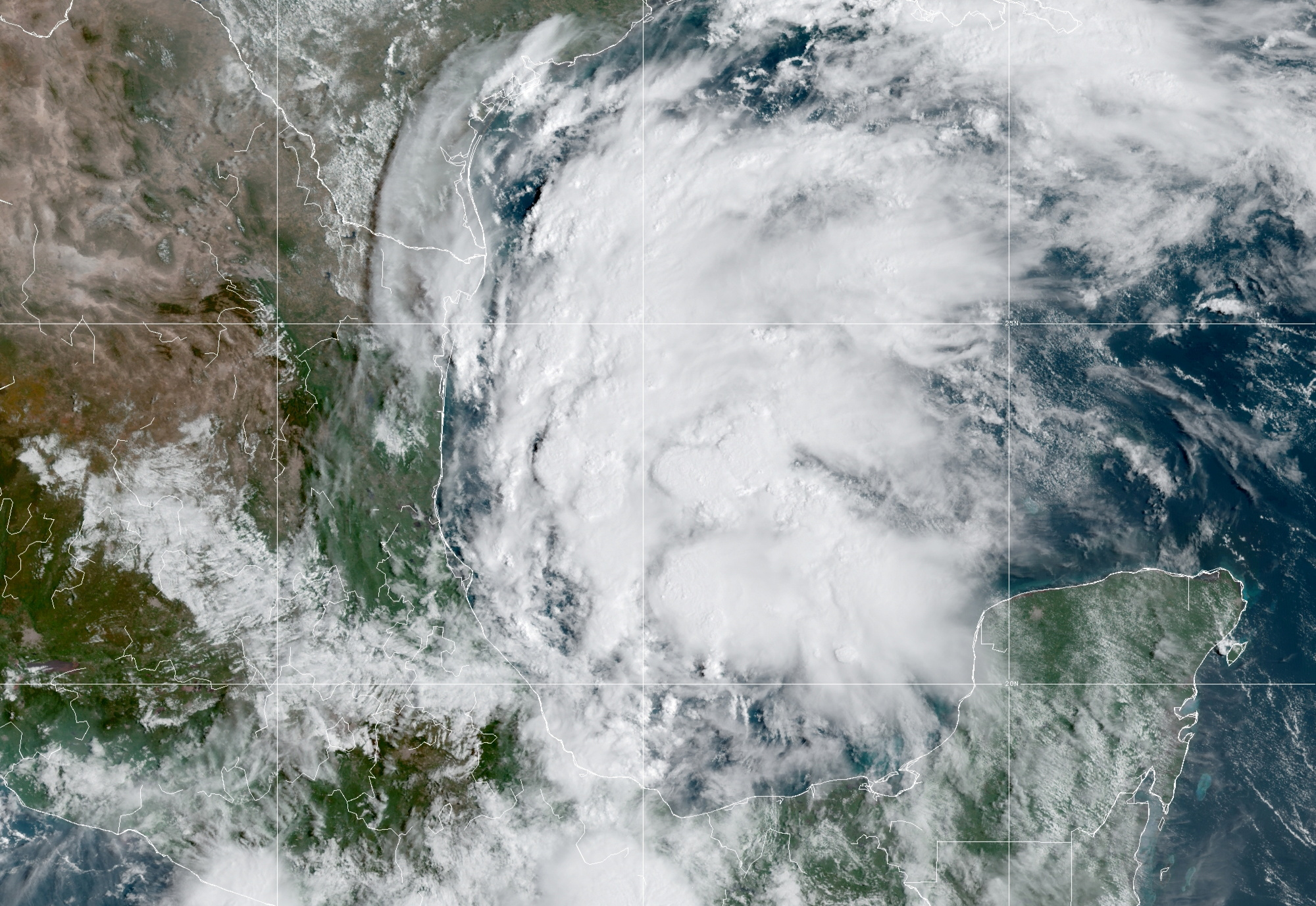 A satellite image shows Tropical Storm Nicholas in the Gulf of Mexico September 12, 2021. NOAA/Handout via REUTERS/File Photo