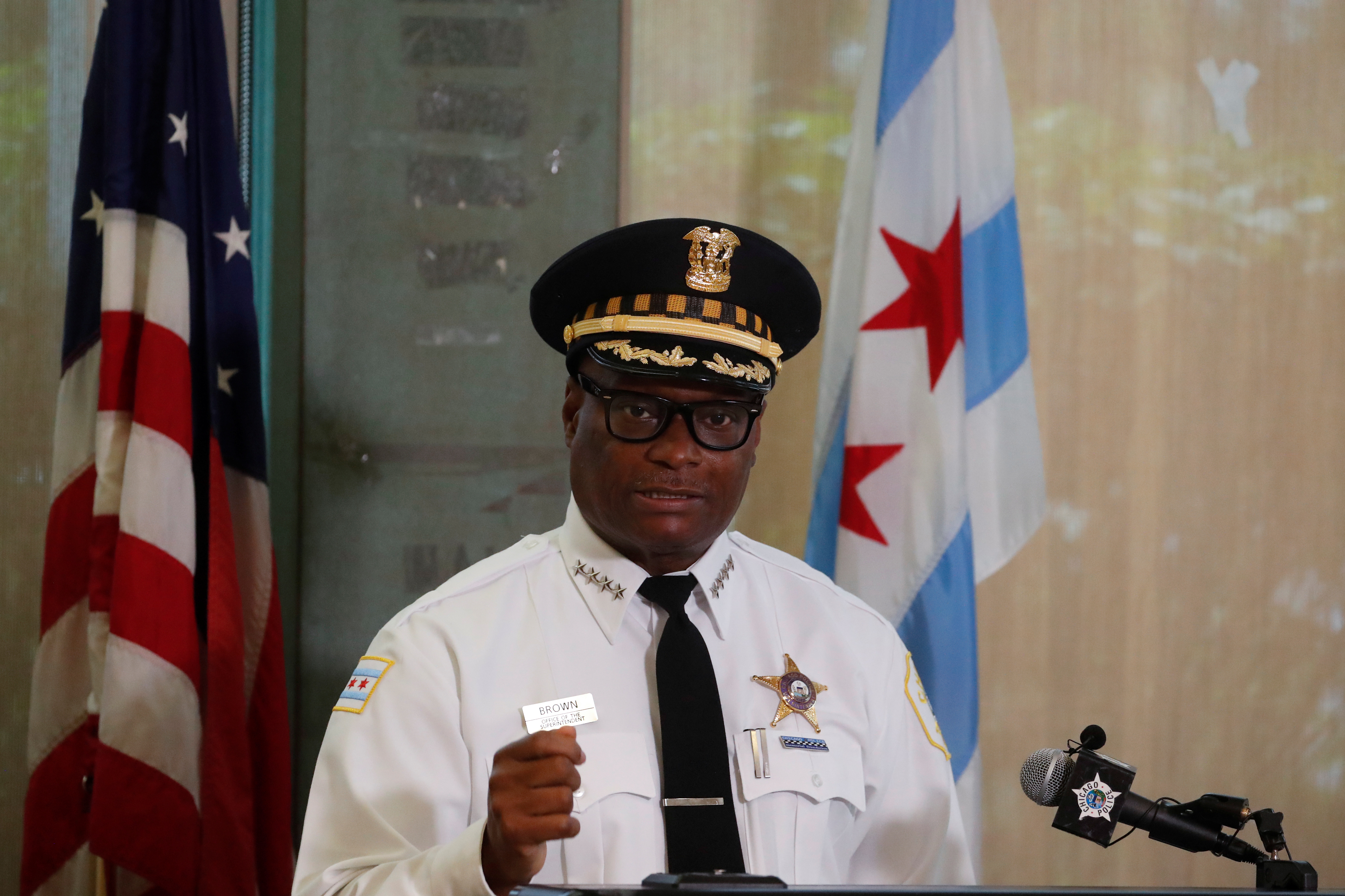 Chicago Police Department Superintendent David Brown speaks during a news conference in Chicago, Illinois, U.S., July 27, 2020.  REUTERS/Shannon Stapleton