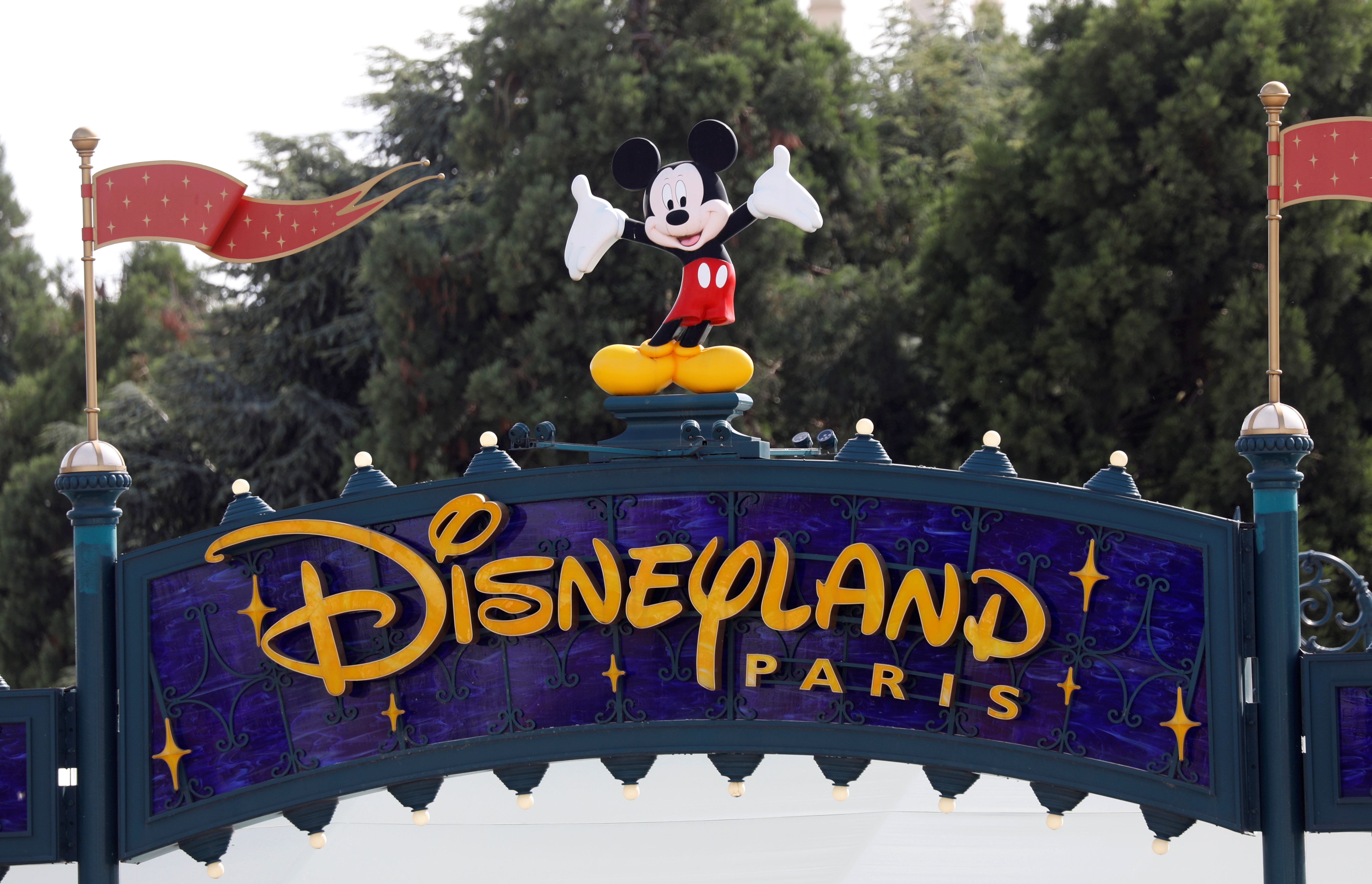 The logo of Disneyland Paris is seen in Marne-la-Vallee, near Paris, as the theme park prepares to reopen its doors to the public following the coronavirus disease (COVID-19) outbreak in France, July 9, 2020.   REUTERS/Charles Platiau