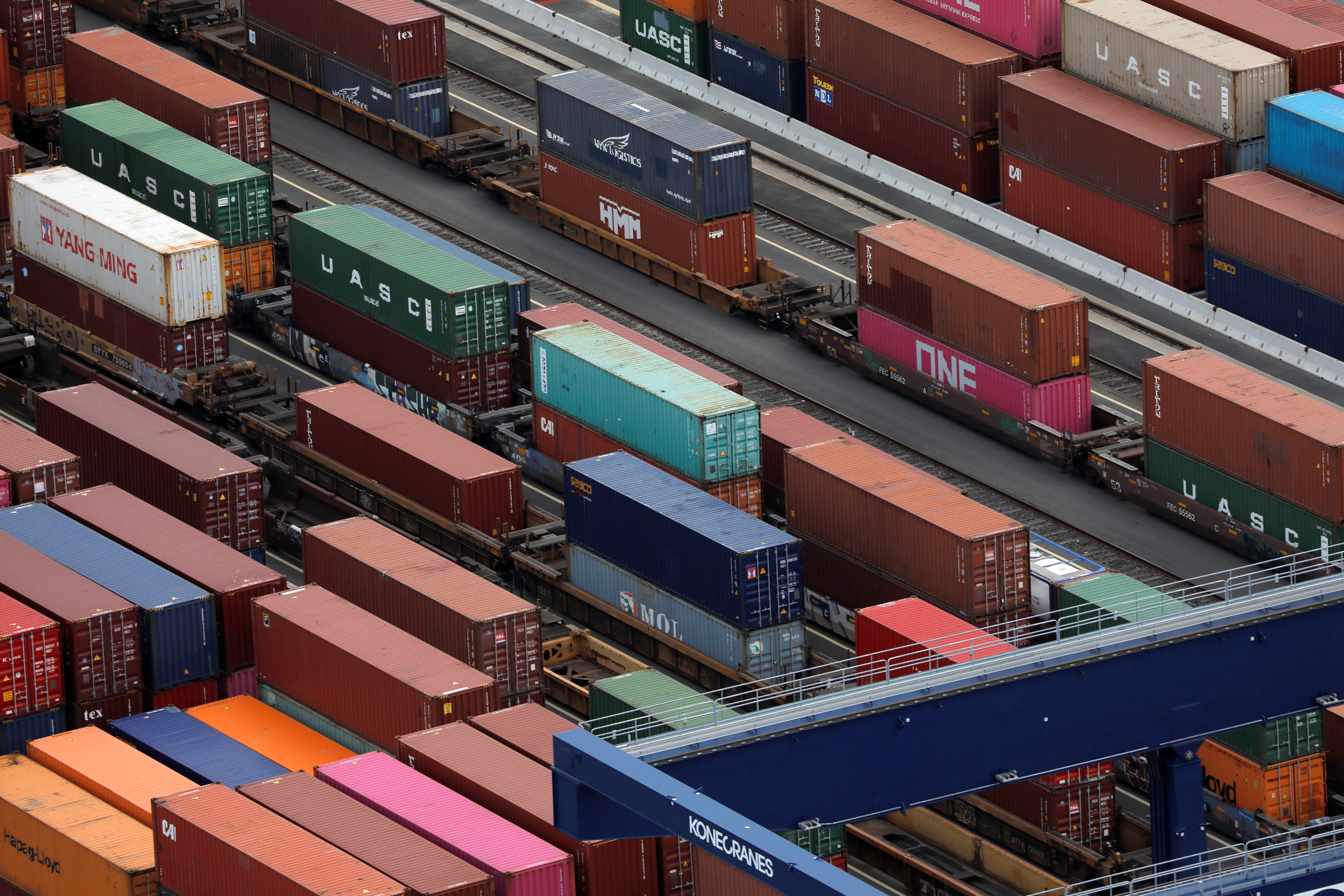 Shipping containers are seen at the port in Bayonne, New Jersey, U.S., August 21, 2021. REUTERS/Andrew Kelly/Files