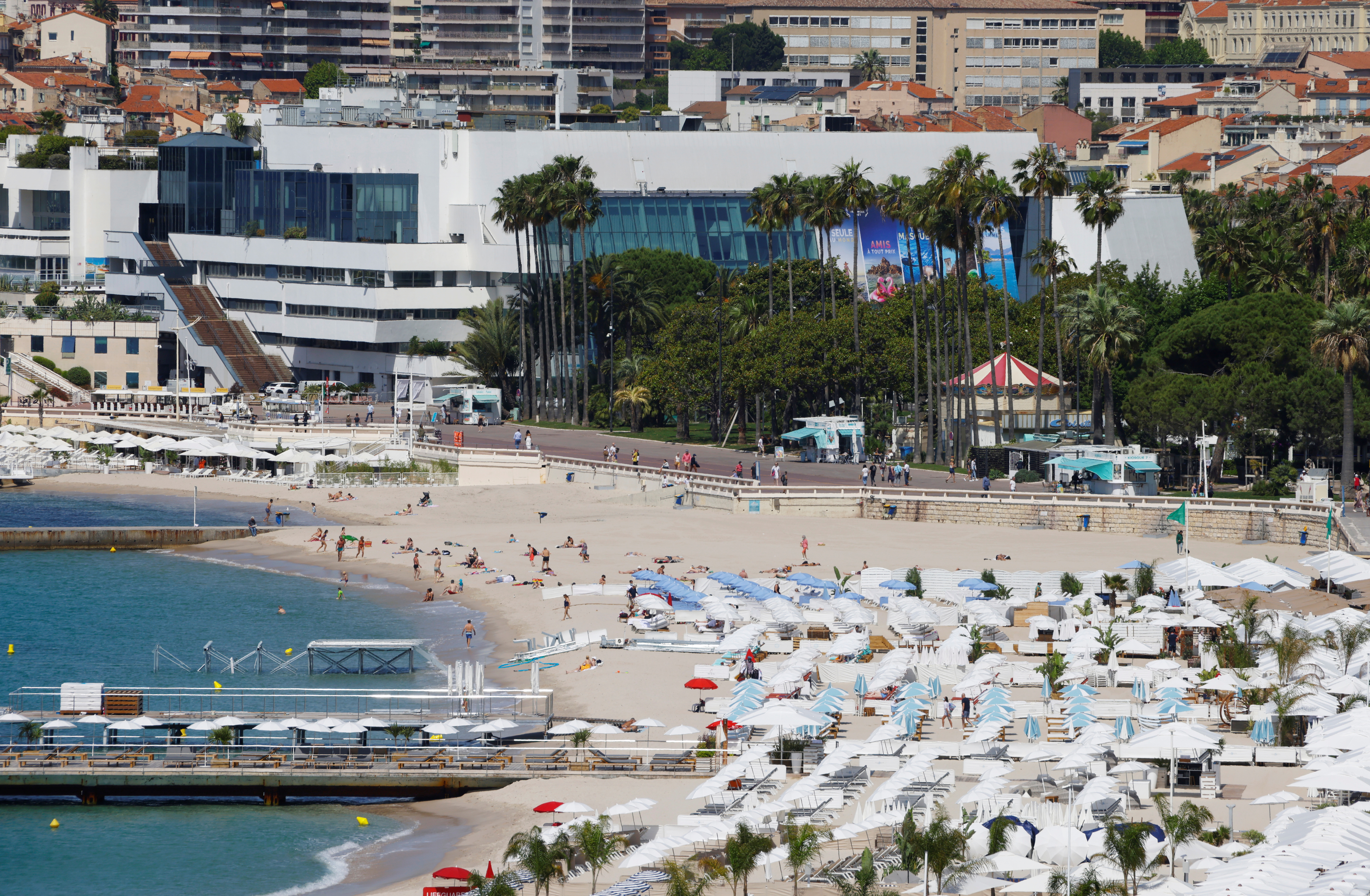 A view shows the Festival palace in Cannes as the French Riviera prepares for the 2021 edition of the Cannes Film Festival which will take place next July, in France, June 3, 2021.  REUTERS/Eric Gaillard