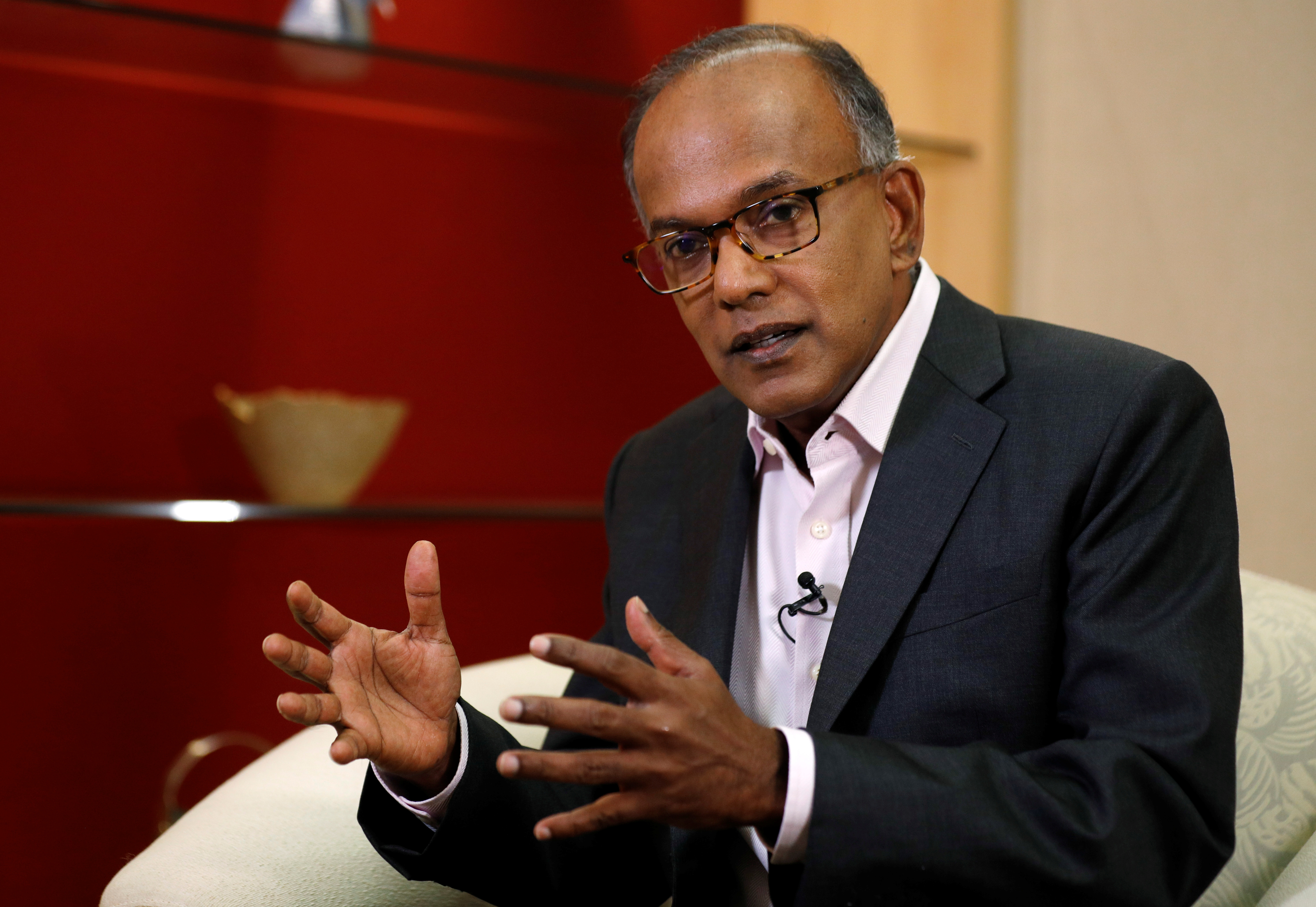 Singapore's Law Minister K. Shanmugam speaks to Reuters in Singapore July 31, 2019.  REUTERS/Edgar Su