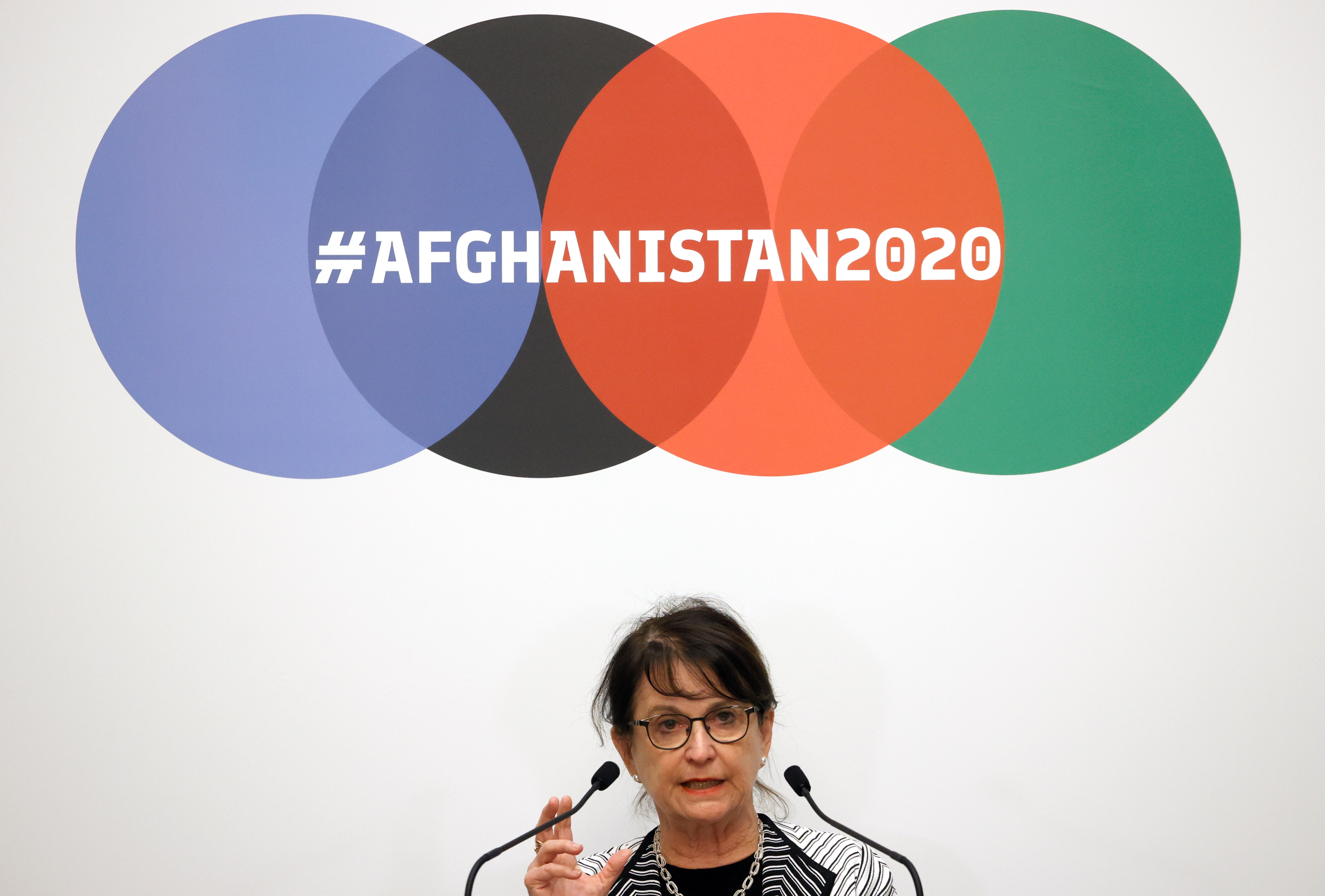 Deborah Lyons, Special Representative of the Secretary General of the United Nations for Afghanistan makes a statement during the 2020 Afghanistan Conference at the United Nations in Geneva, Switzerland November 24, 2020. REUTERS/Denis Balibouse
