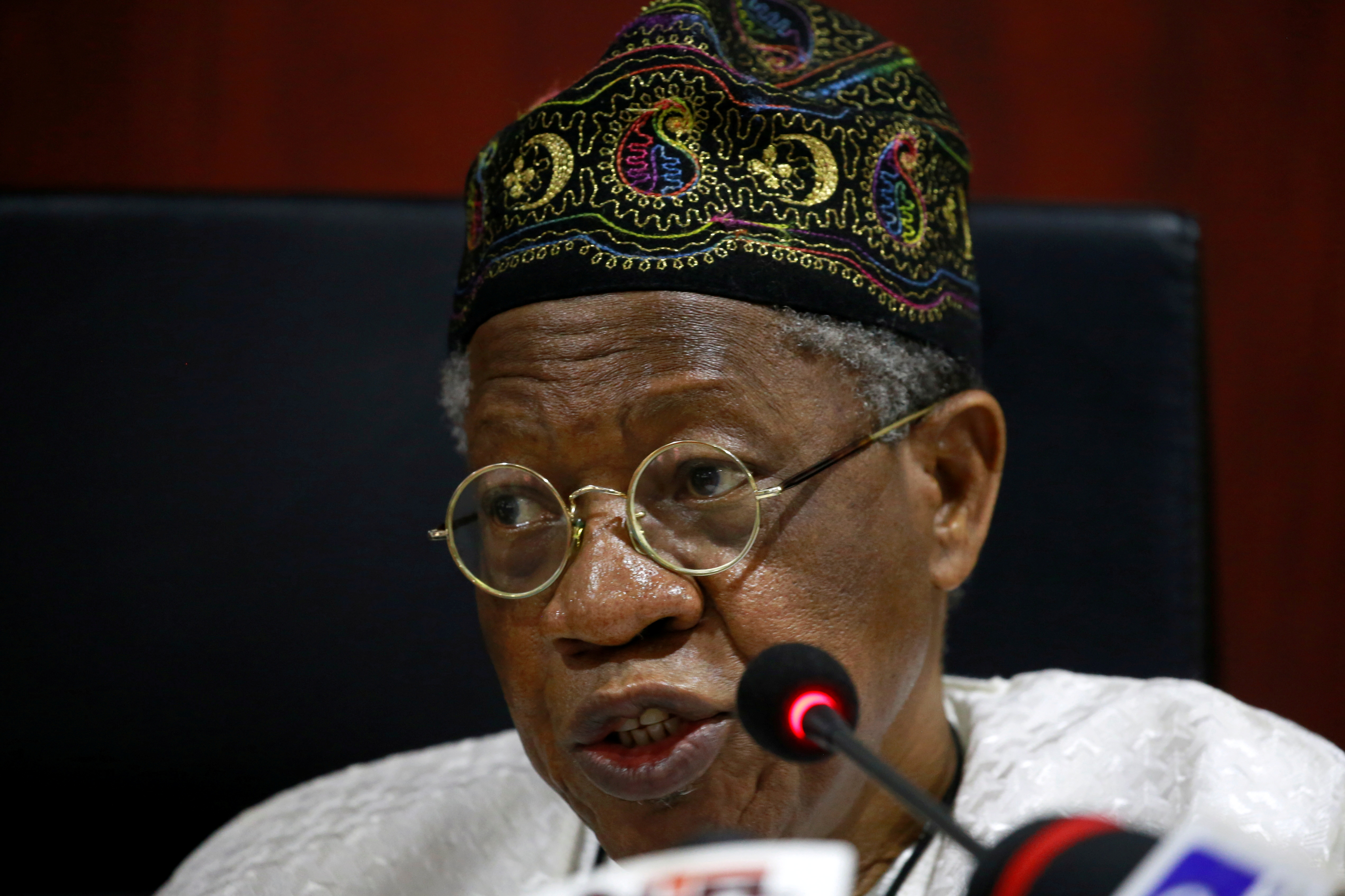Nigeria's Information Minister Lai Mohammed speaks during a news conference on protests in Abuja, Nigeria November 19, 2020. REUTERS/Afolabi Sotunde/File Photo