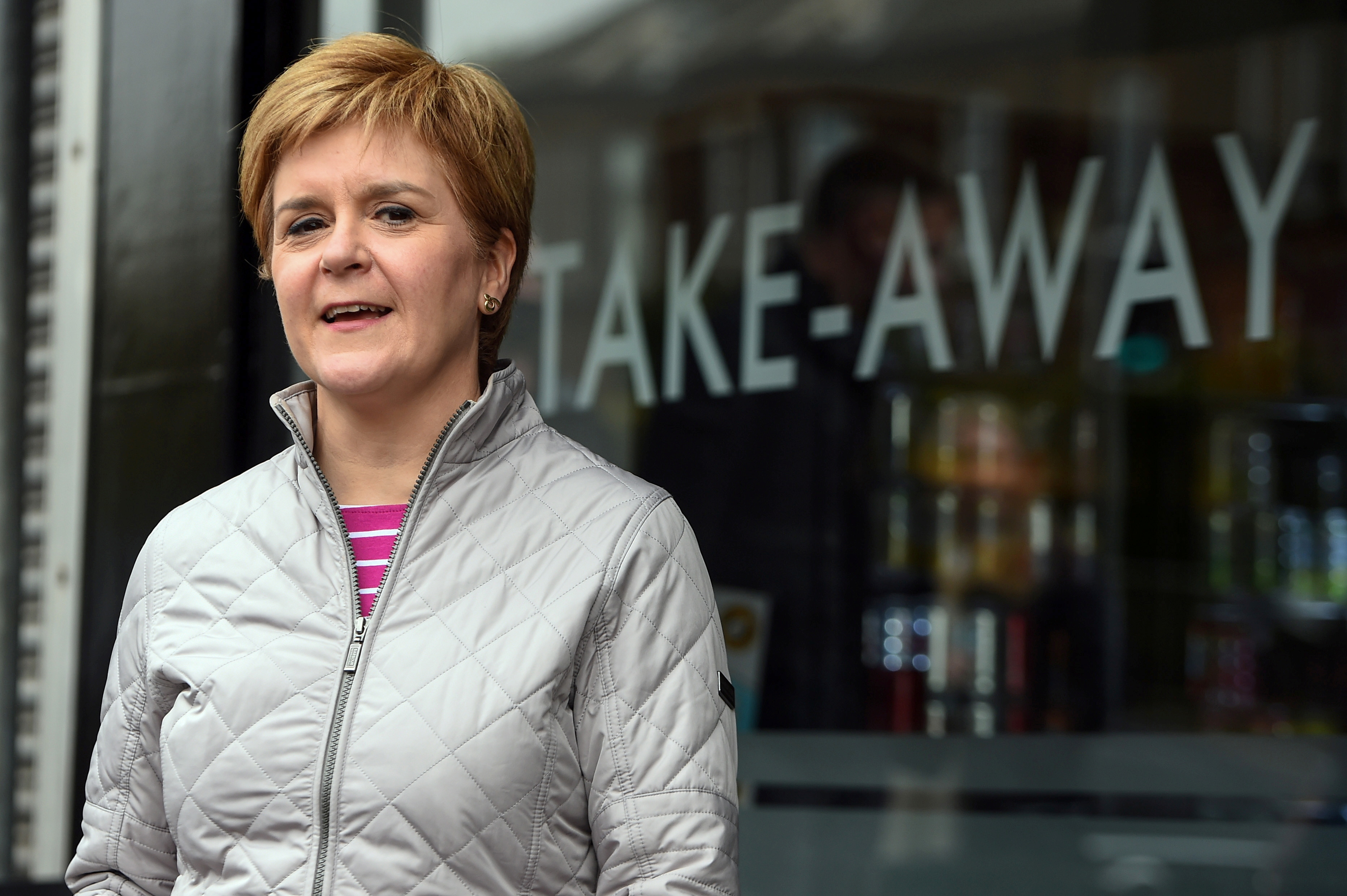 Scottish National Party leader and First Minister Nicola Sturgeon campaigns ahead of the Scottish Parliament election in Glasgow, Scotland, Britain May 2, 2021. Andy Buchanan/Pool via REUTERS