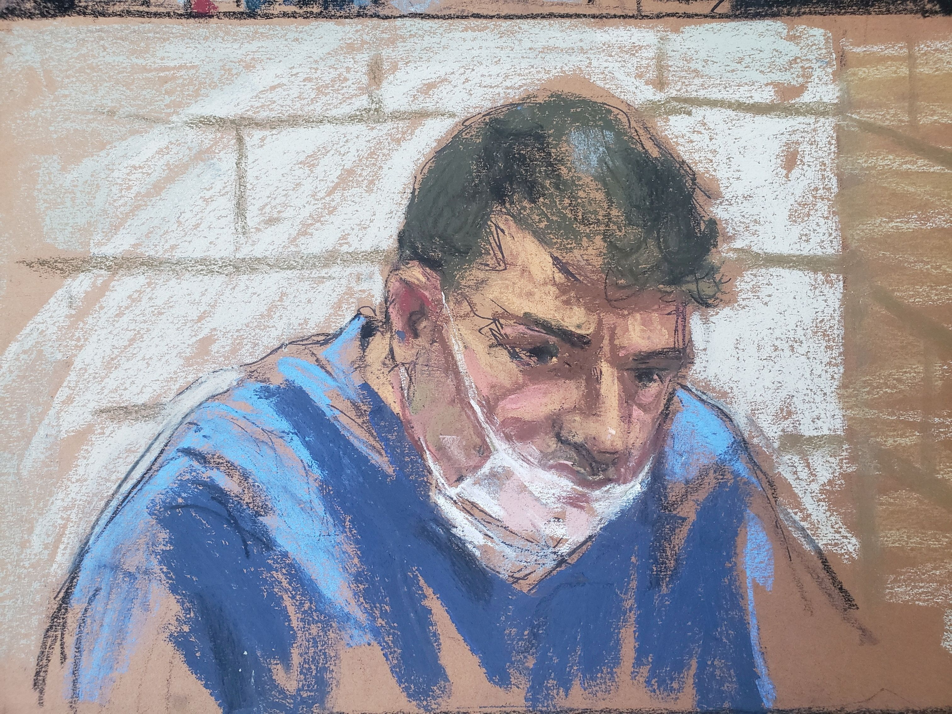 Eduard Florea appears during a virtual hearing on weapons charges in a New York court in this January 13, 2021 courtroom sketch.  REUTERS/Jane Rosenberg/File Photo