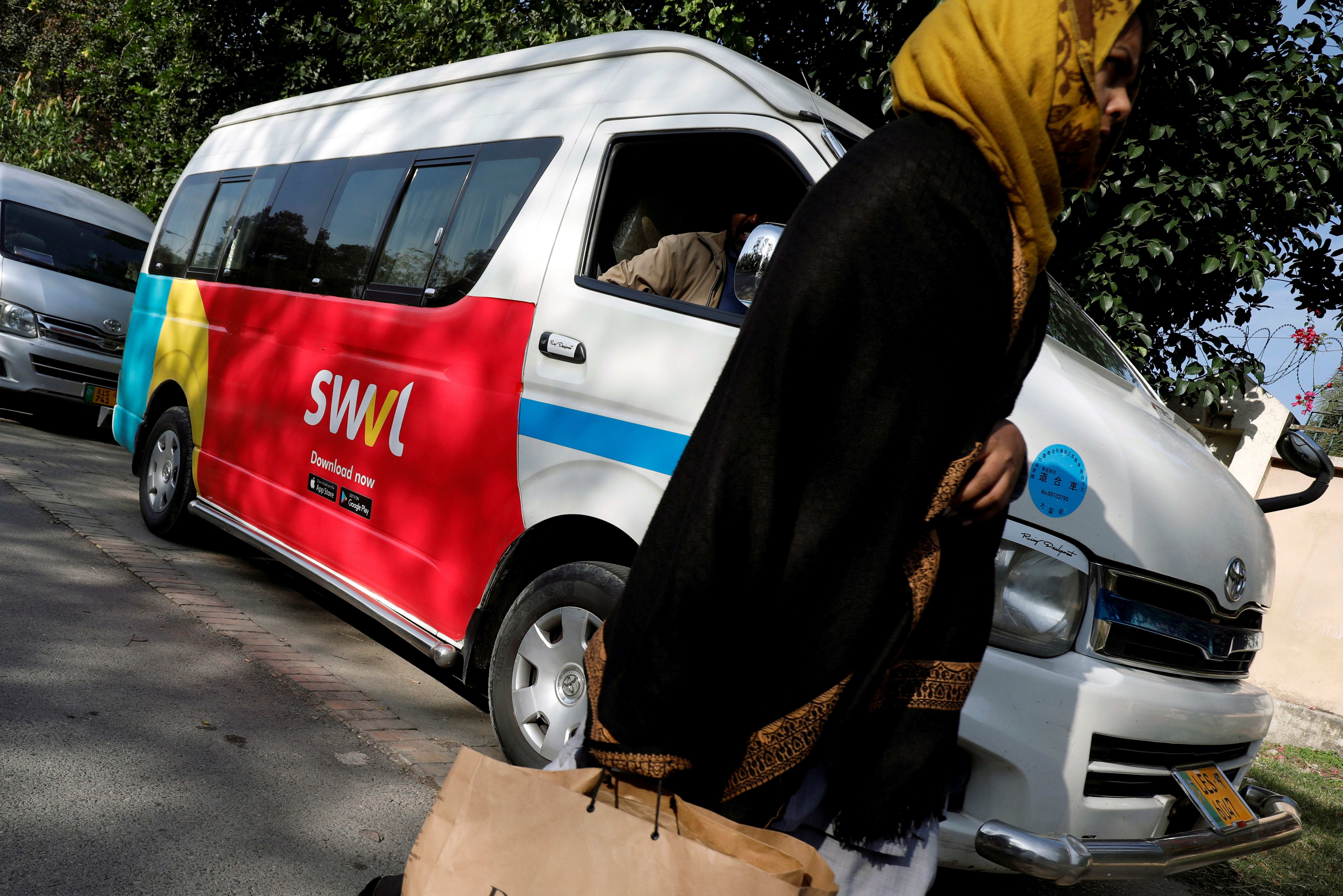 The logo of the Egyptian transport technology start-up Swvl in Islamabad, Pakistan, November 11, 2019. REUTERS/Akhtar Soomro/File Photo