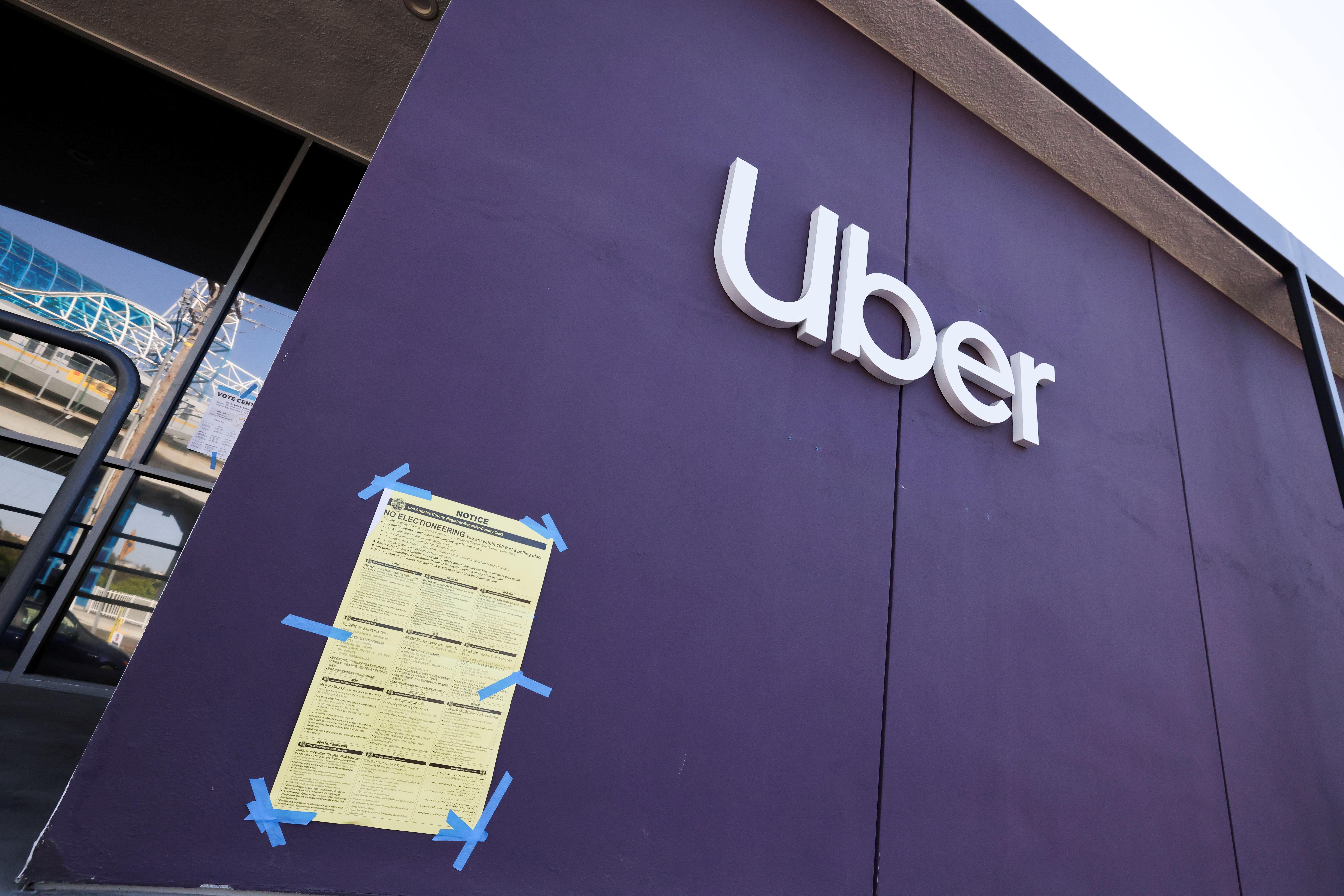 An Uber logo is seen during the global outbreak of the coronavirus disease (COVID-19), in Redondo Beach, Los Angeles, California, U.S., November 2, 2020. REUTERS/Lucy Nicholson/File Photo