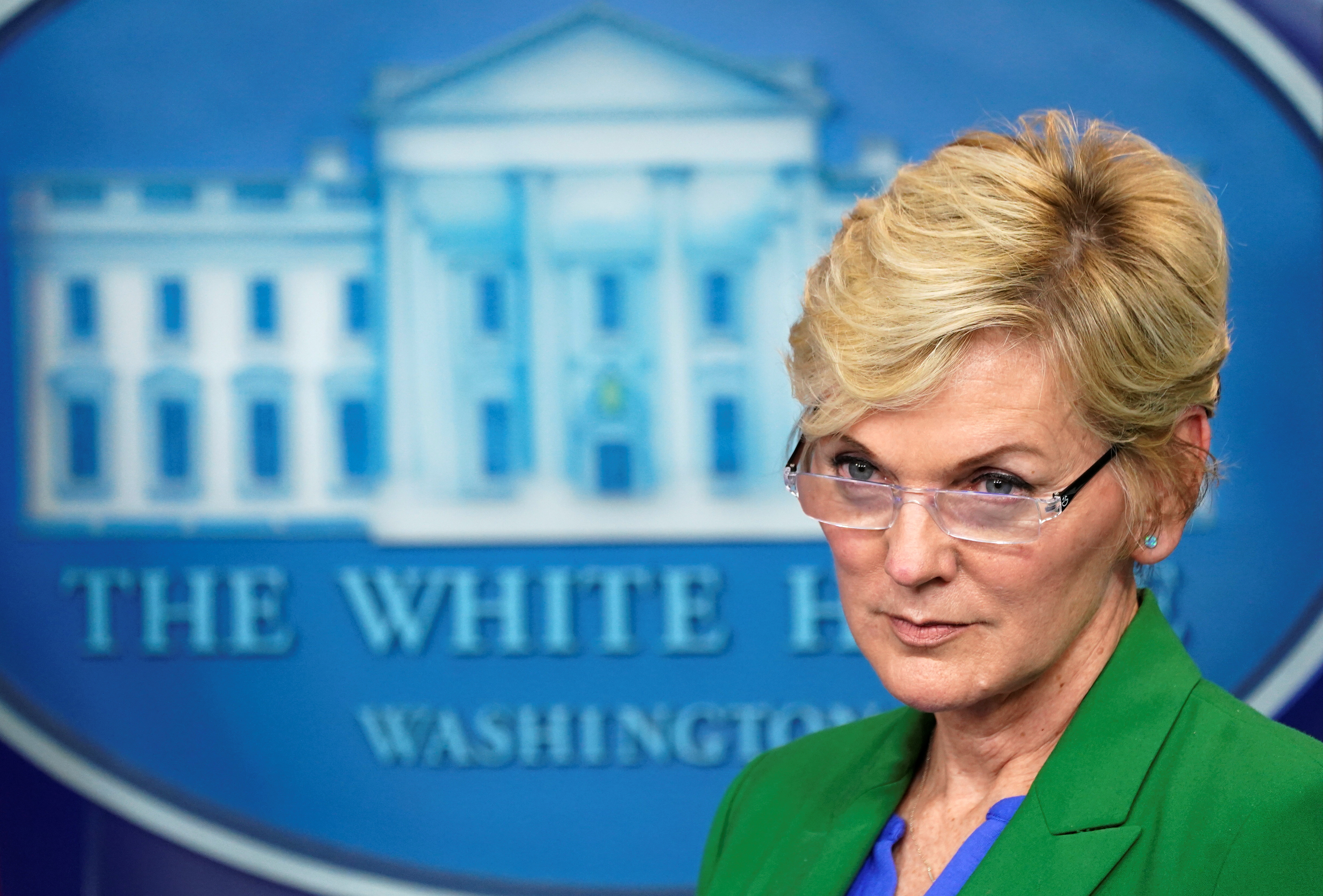 U.S. Energy Secretary Jennifer Granholm listens to a question during a press briefing about the Colonial Pipeline cyberattack shutdown, at the White House in Washington, U.S., May 11, 2021. REUTERS/Kevin Lamarque