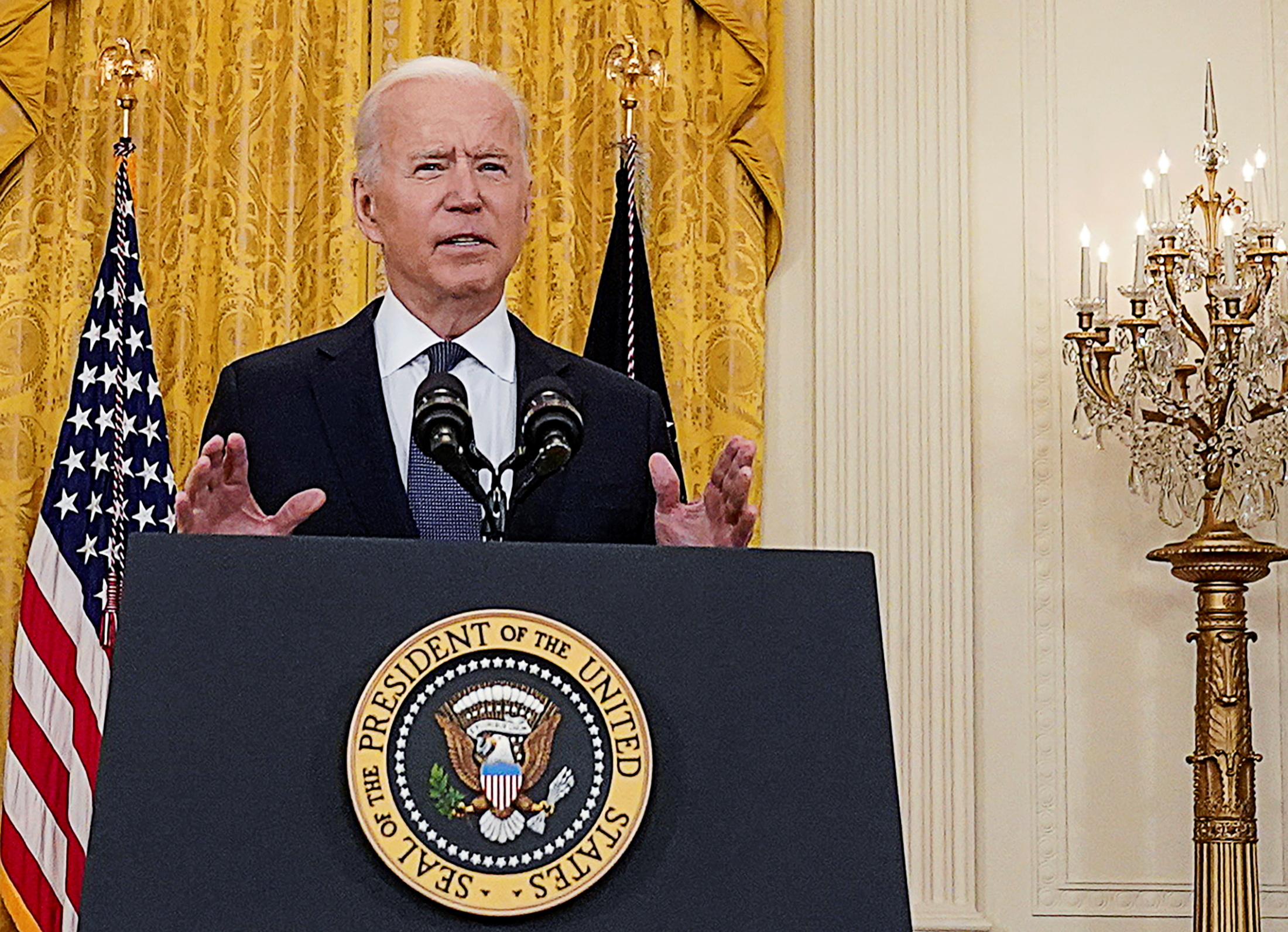 U.S. President Joe Biden delivers remarks on the U.S. economy in the East Room at the White House in Washington, U.S., May 10, 2021. REUTERS/Kevin Lamarque/File Photo