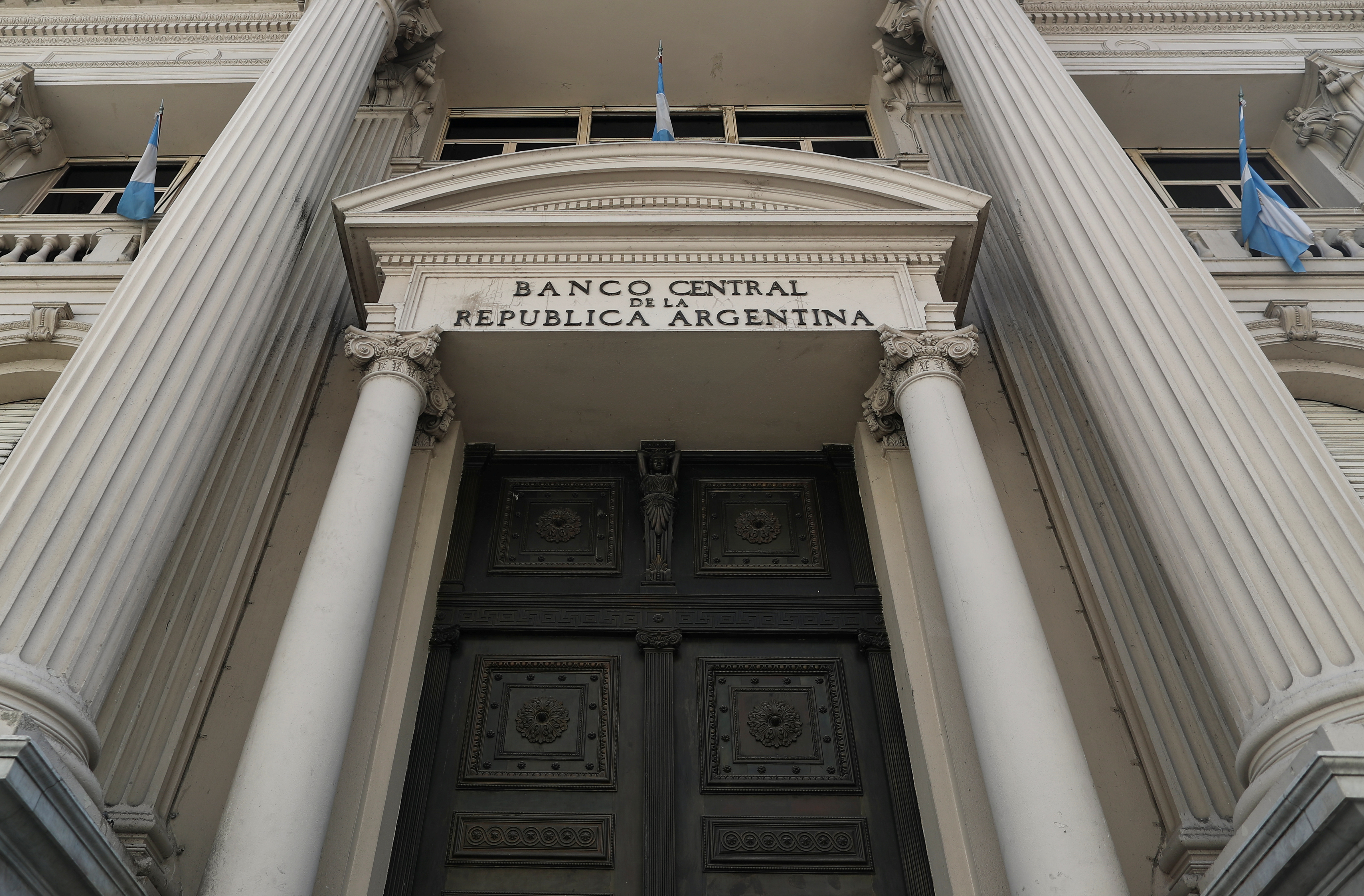 The facade of Argentina's Central Bank is pictured, in downtown Buenos Aires, Argentina September 16, 2020. REUTERS/Agustin Marcarian