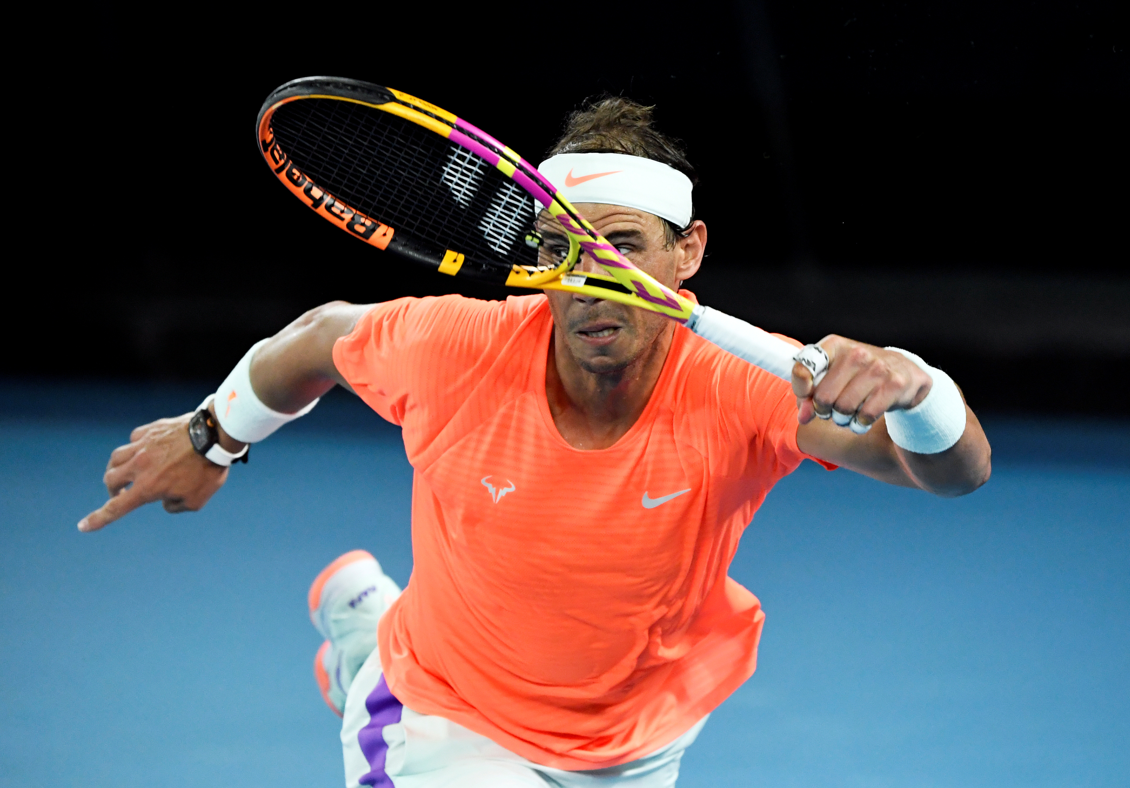 Tennis - Australian Open - Melbourne Park, Melbourne, Australia, February 17, 2021 Spain's Rafael Nadal in action during his quarter final match against Greece's Stefanos Tsitsipas REUTERS/Jaimi Joy