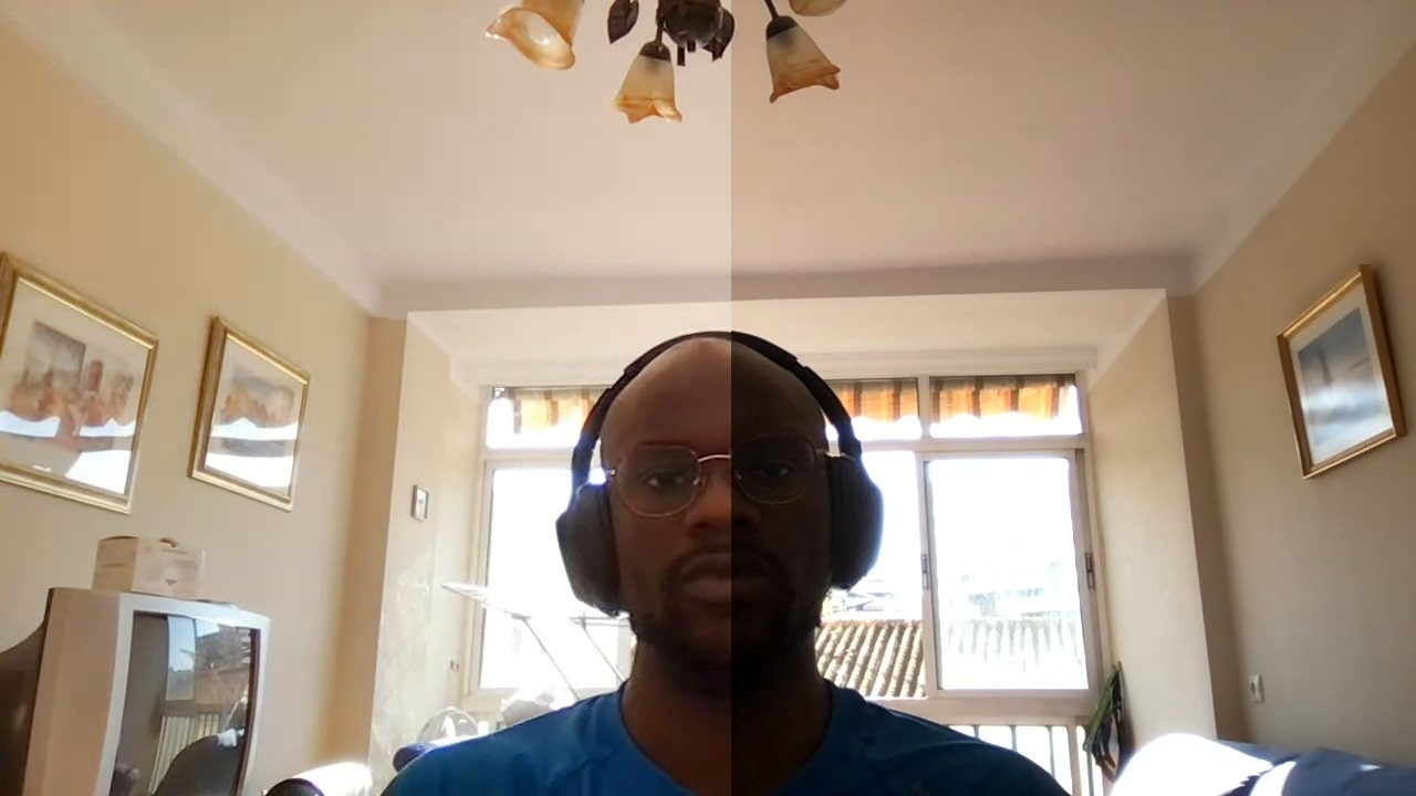 A photo illustration dated June 2, 2021 shows how Google's new light adjustments feature for its Meet video conferencing tool brightens the face of a user who is underexposed because of a window in the background. Google/Handout via REUTERS