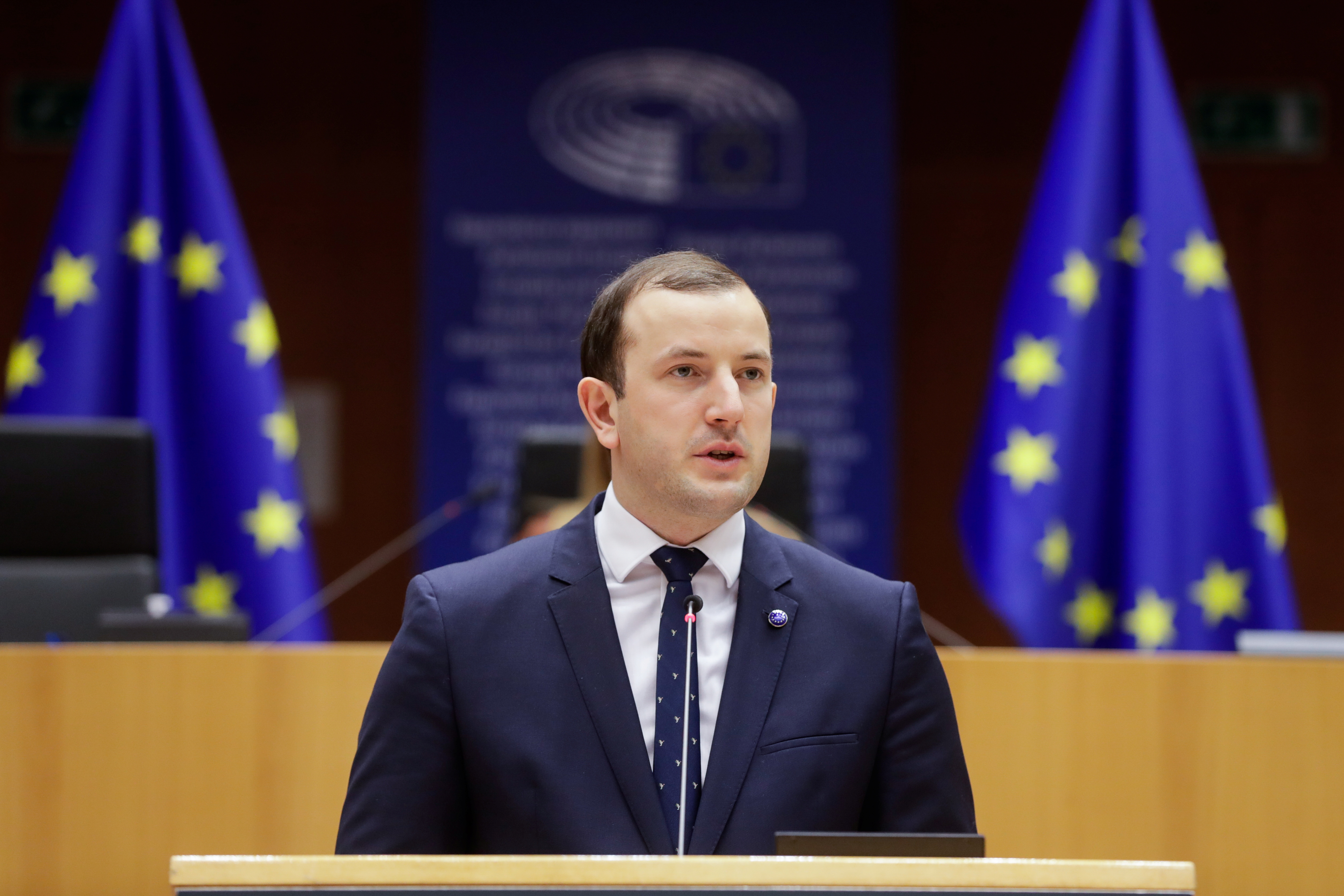 EU Environment, Oceans and Fisheries Commissioner Virginijus Sinkevicius speaks during a plenary session of the European Parliament in Brussels, Belgium, March 9, 2021. Stephanie Lecocq/Pool via REUTERS