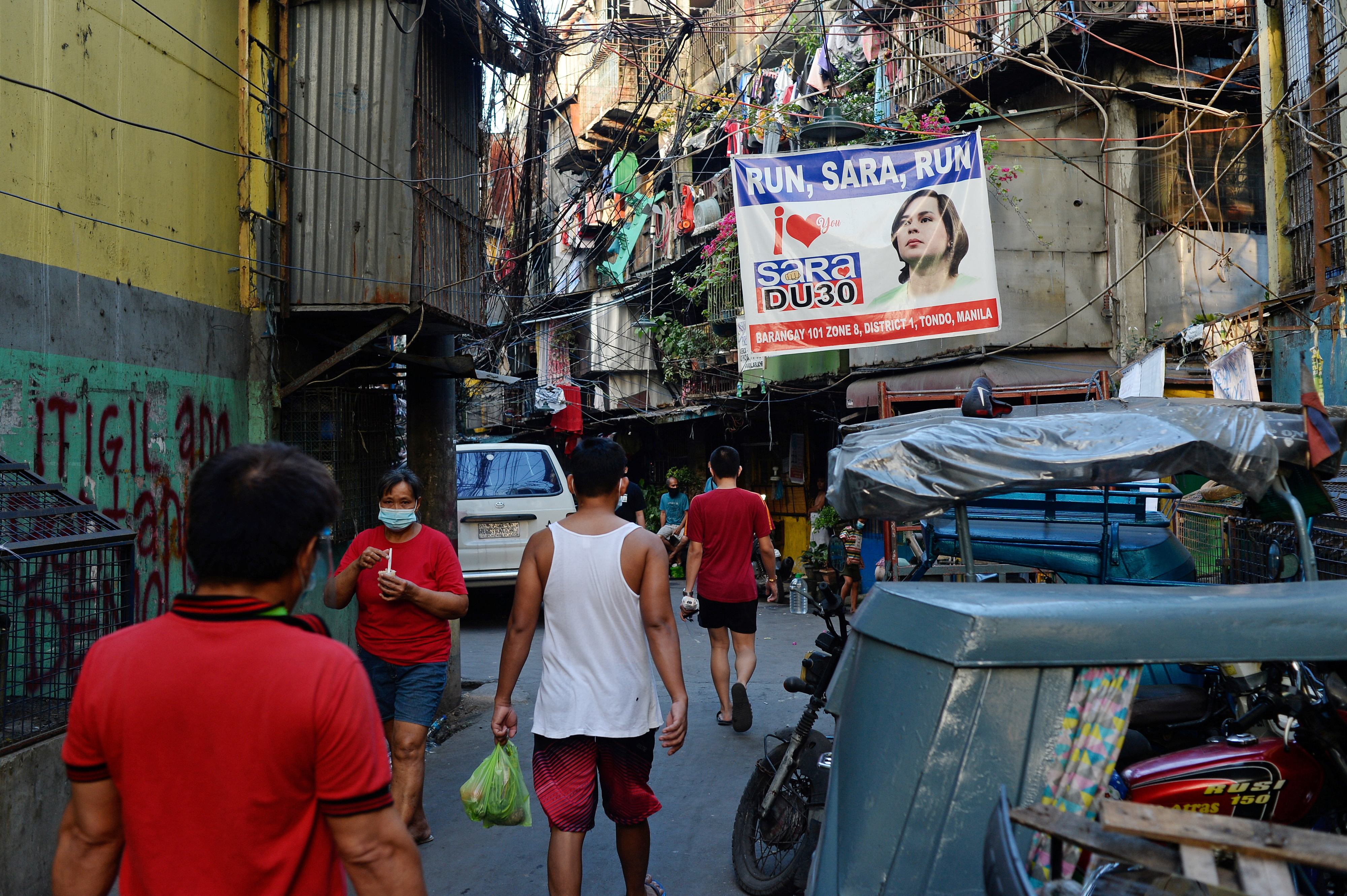 A banner showing support for Davao City Mayor Sara Duterte to run for president is seen in a community in Manila, Philippines, April 9, 2021. Picture taken April 9, 2021. REUTERS/Lisa Marie David