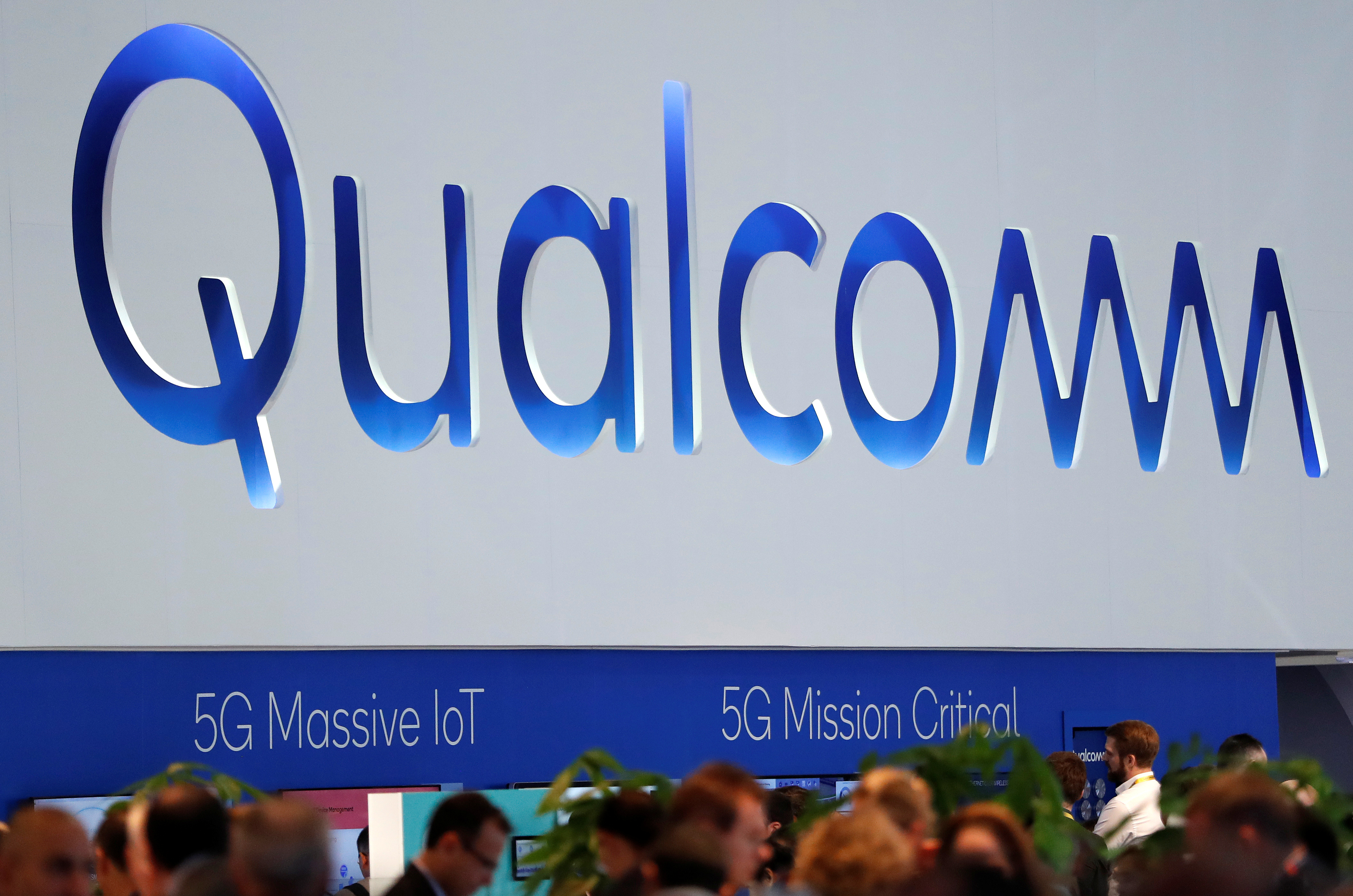 The logo of Qualcomm is seen during the Mobile World Congress in Barcelona, Spain February 27, 2018. REUTERS/Yves Herman - RC1FA3468840