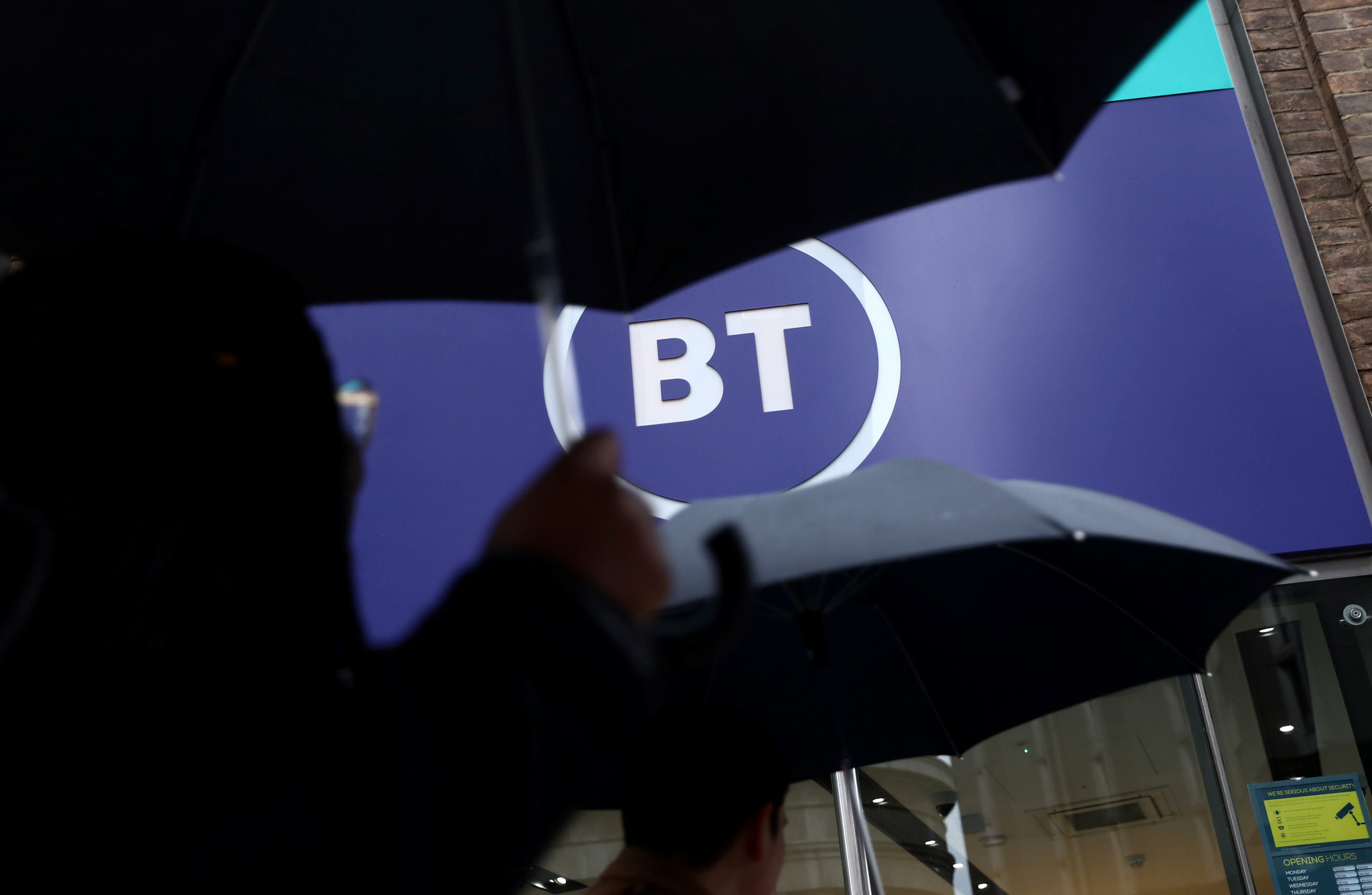 Logo of British Telecom (BT) is displayed outside a store in London, Britain, November 15, 2019. REUTERS/Simon Dawson/File photo