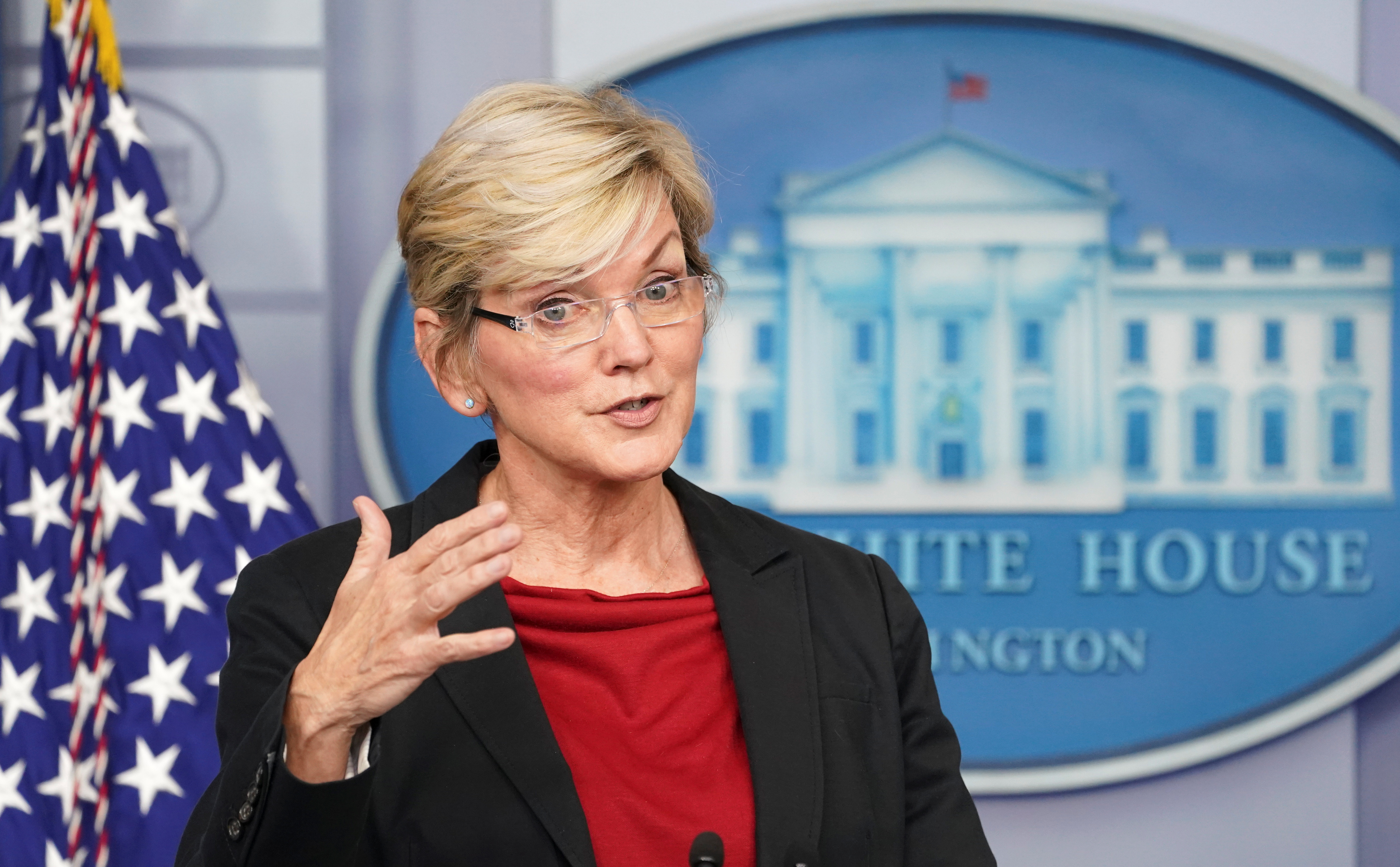 U.S. Secretary of Energy Jennifer Granholm speaks during a press briefing at the White House in Washington, U.S., April 8, 2021. REUTERS/Kevin Lamarque/File Photo