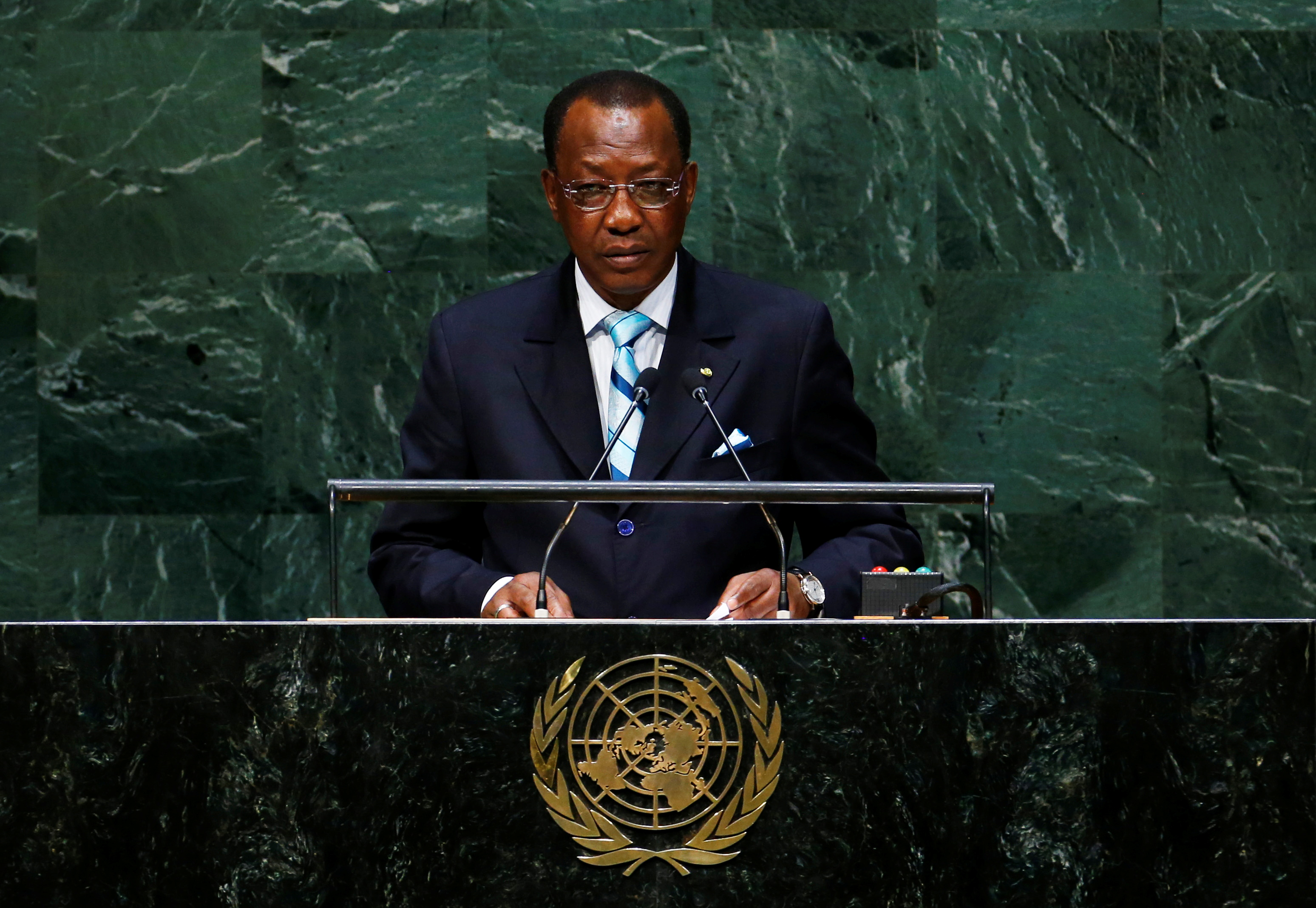Idriss Deby Itno, President of the Republic of Chad, addresses the 69th United Nations General Assembly at the U.N. headquarters in New York September 24, 2014.               REUTERS/Lucas Jackson/File Photo