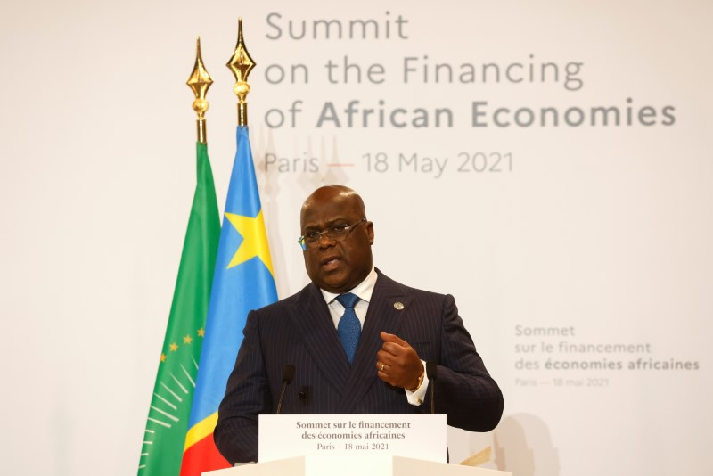 African Union President and President of Congo Democratic Republic Felix Tshisekedi speaks during  a joint news conference at the end of the Summit on the Financing of African Economies in Paris, France May 18, 2021. Ludovic Marin/REUTERS