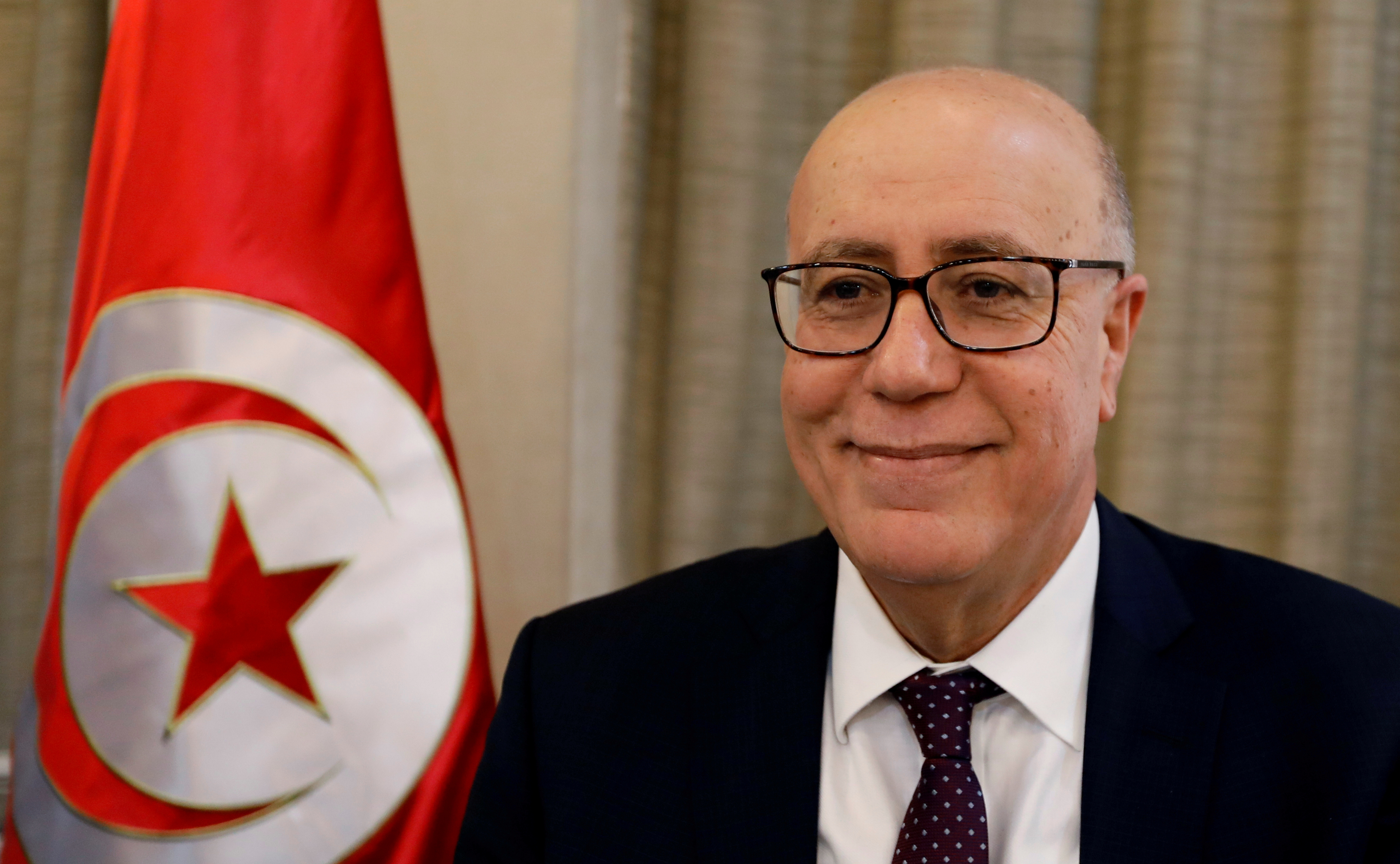 Tunisia's Central Bank governor Marouane El Abassi attends a news conference in Tunis, Tunisia, February 20, 2019. REUTERS/Zoubeir Souissi