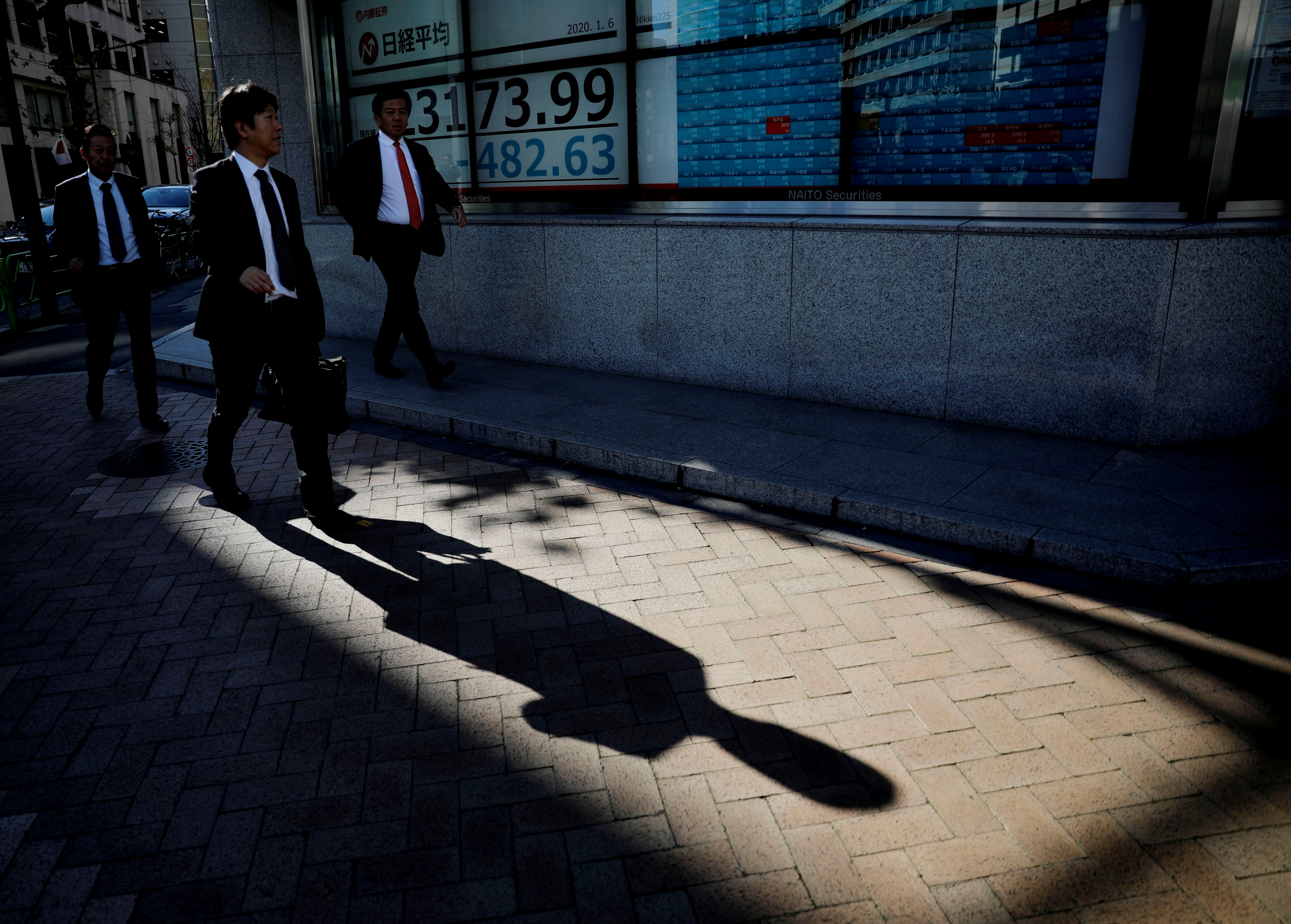 A man looks at a board showing stock prices outside a brokerage in Tokyo, Japan, January 6, 2020.   REUTERS/Kim Kyung-Hoon