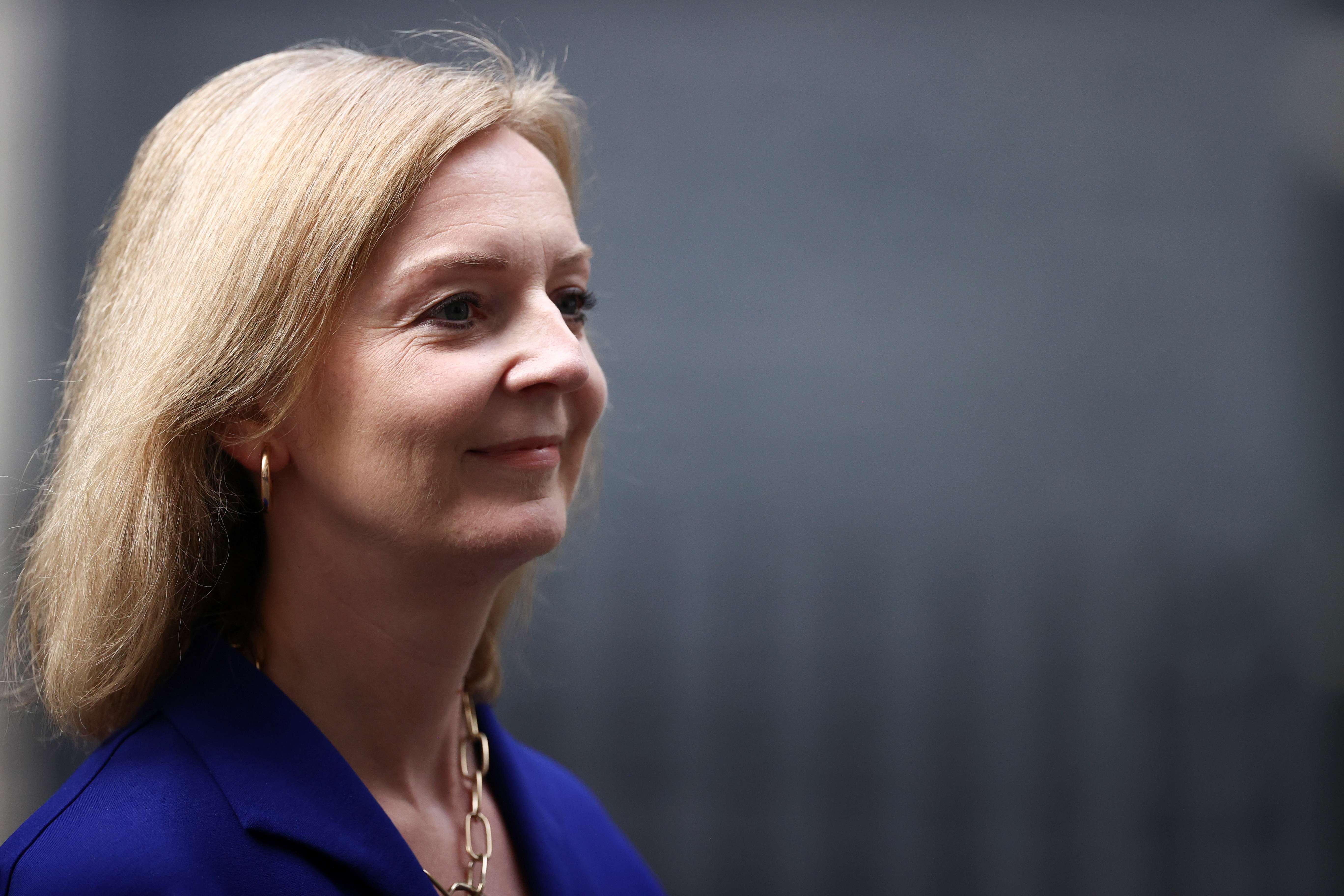 Britain's recently appointed Foreign Secretary Liz Truss walks outside Downing Street in London, Britain, September 15, 2021. REUTERS/Hannah McKay