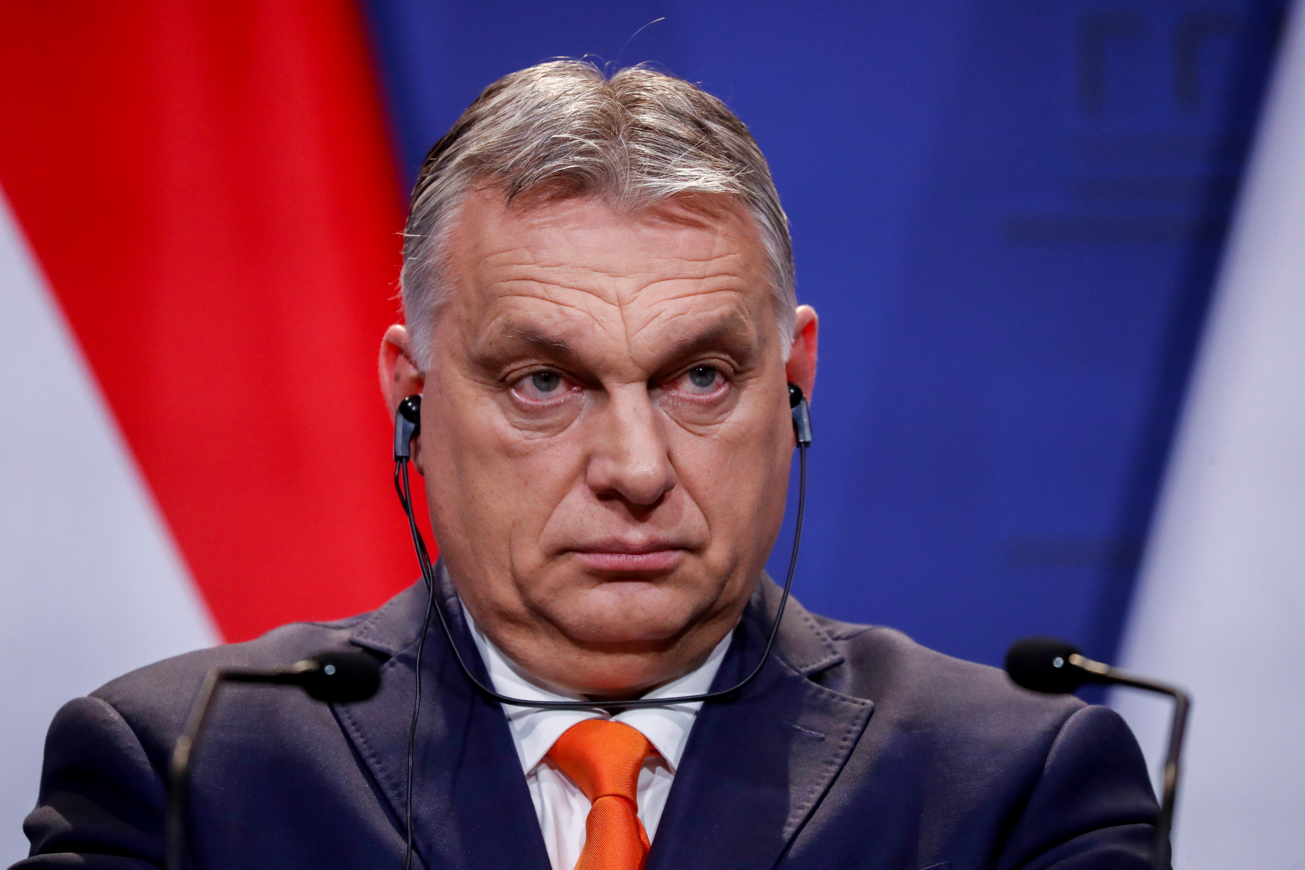 Prif Weinidog Hwngari, Viktor Orban, yn Budapest, Hwngari, Ebrill 1, 2021. REUTERS / Bernadett Szabo / File File