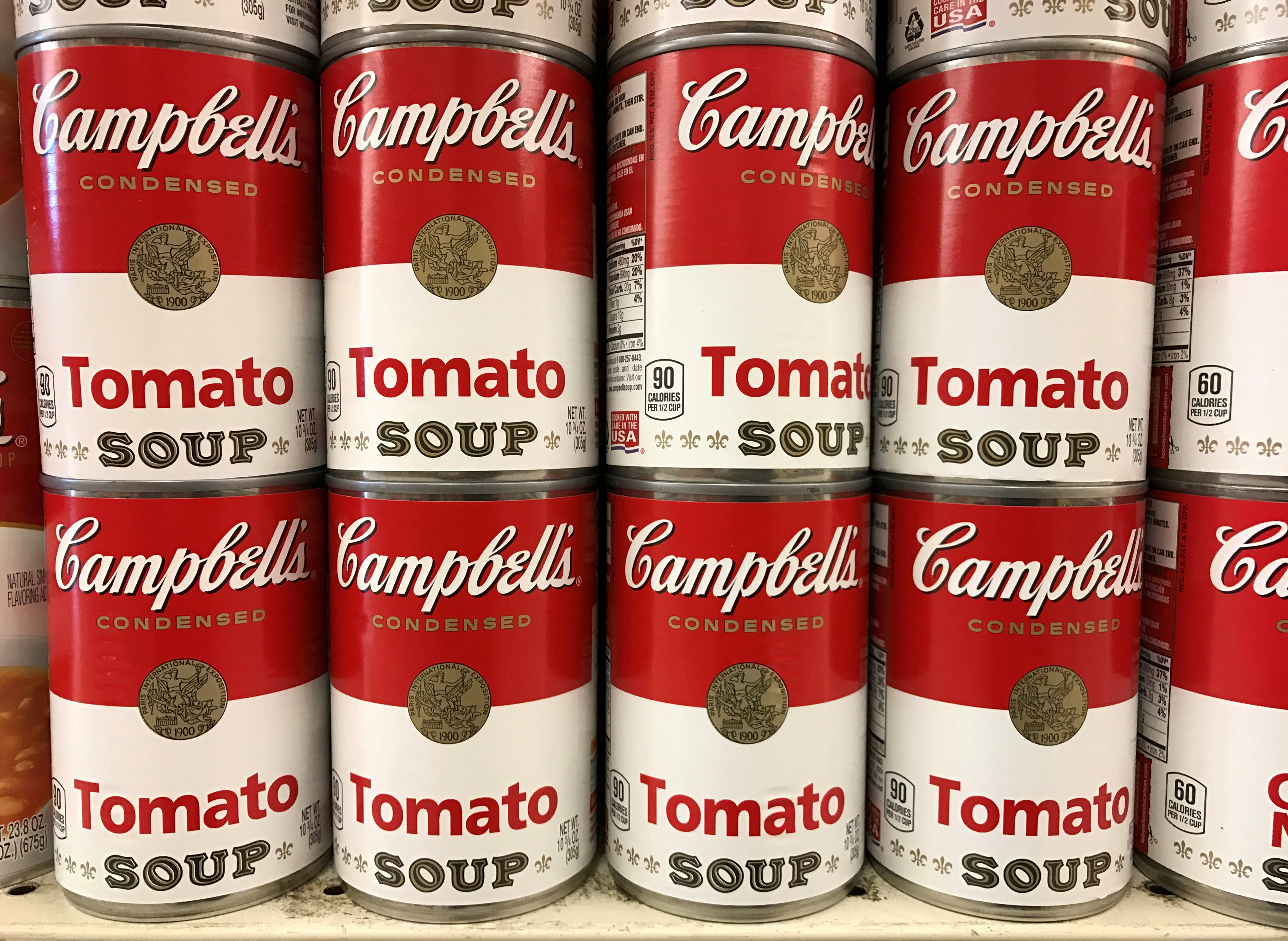 Tins of Campbell's Tomato Soup are seen on a supermarket shelf in Seattle, Washington, U.S. February 10, 2017. REUTERS/Chris Helgren