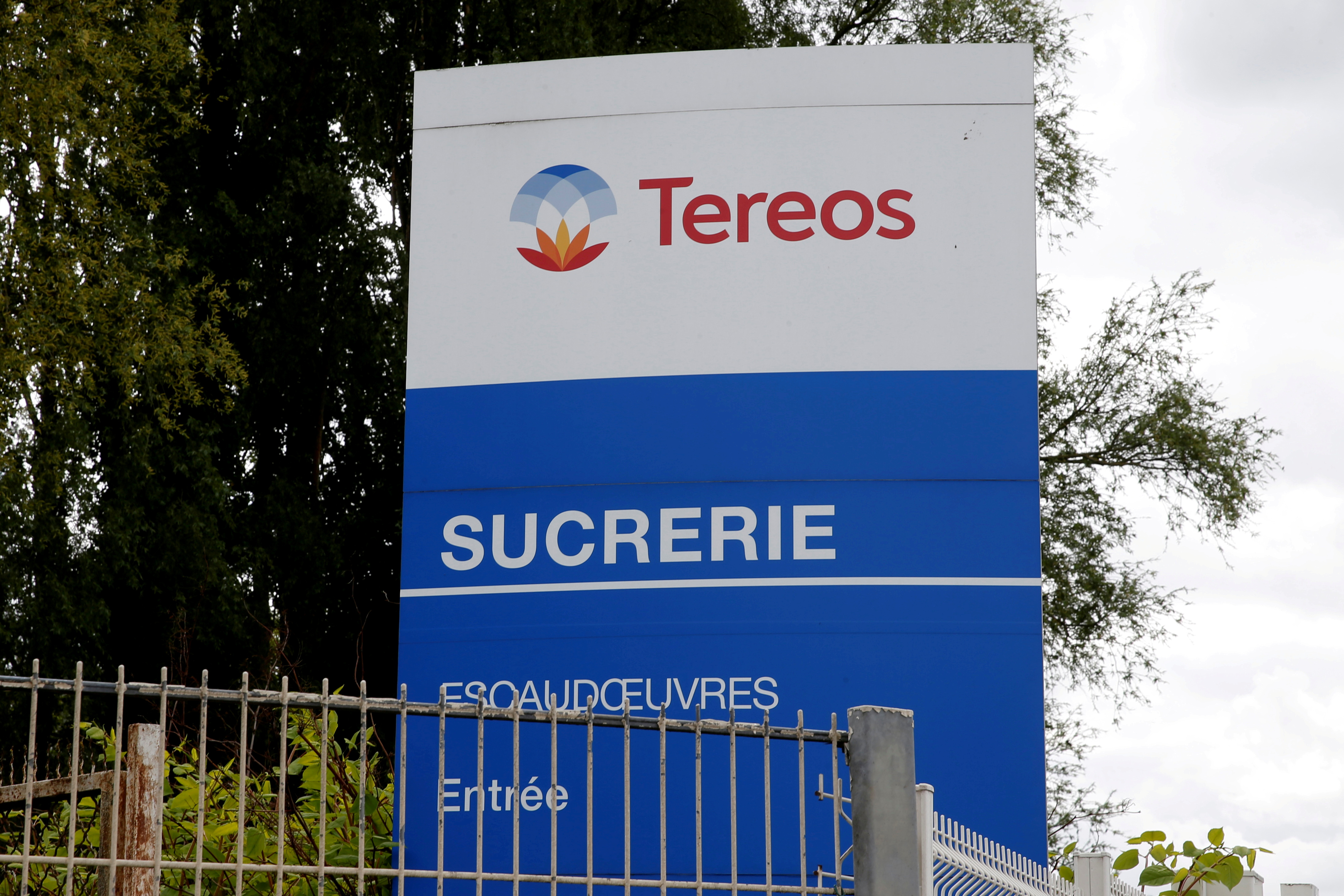 A view shows a logo at the entrance of the Tereos sugar factory in Escaudoeuvres, Northern France, April 30, 2020. REUTERS/Pascal Rossignol/File Photo