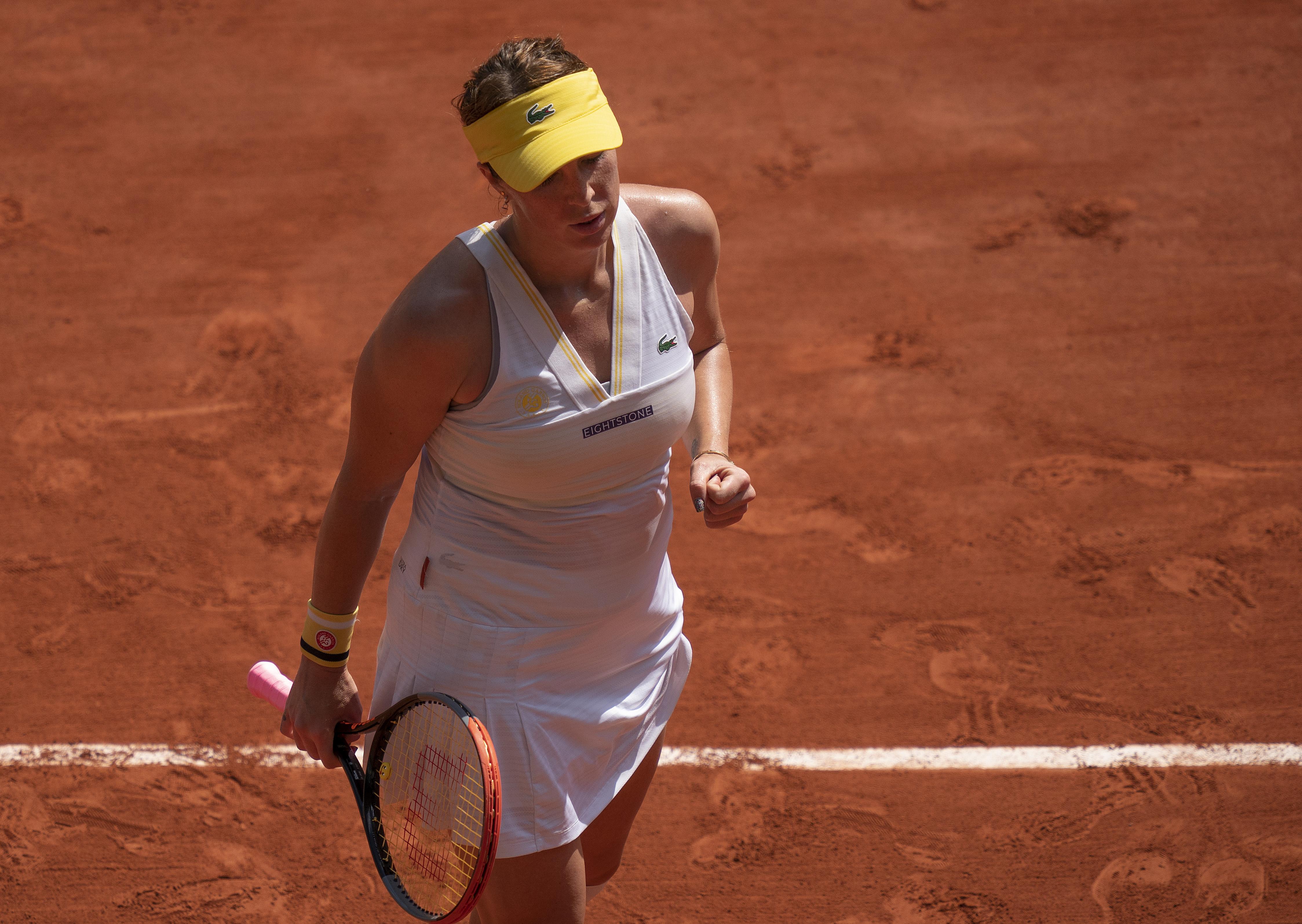Jun 10, 2021; Paris, France; Anastasia Pavlyuchenkova (RUS) reacts during her match against Tamara Zidansek (SLO) on day 12 of the French Open at Stade Roland Garros. Mandatory Credit: Susan Mullane-USA TODAY Sports