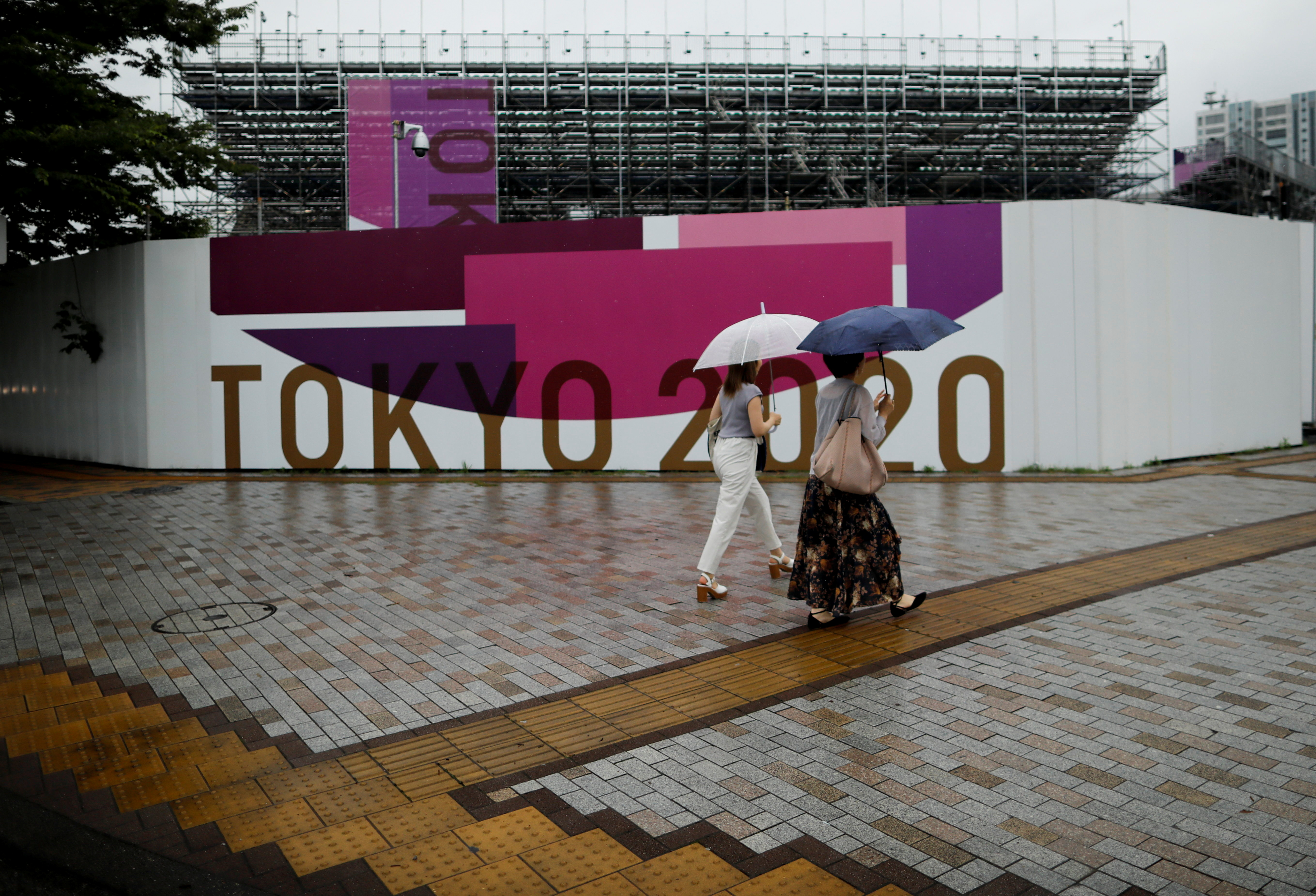 Scaffoldings for the spectator seats are seen at Aomi Urban Sports Park, ahead of the opening of the 2020 Tokyo Olympic Games that have been postponed to 2021 due to the coronavirus disease (COVID-19) outbreak, in Tokyo, Japan July 8, 2021.  REUTERS/Issei Kato
