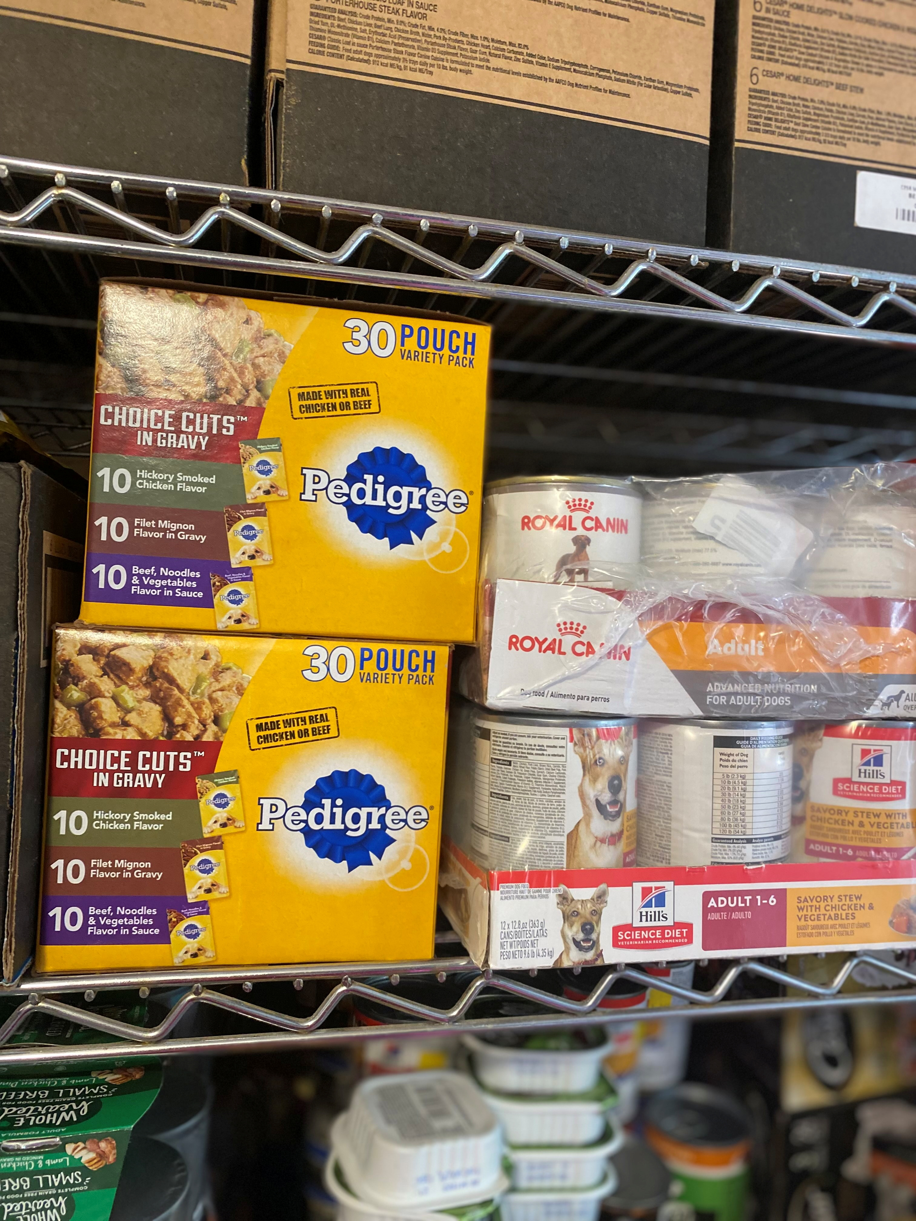 Donations of pet food are seen at the South Shore Pet Food Pantry near Boston, U.S. July 27, 2021.    South Shore Pet Food Pantry/Handout via REUTERS