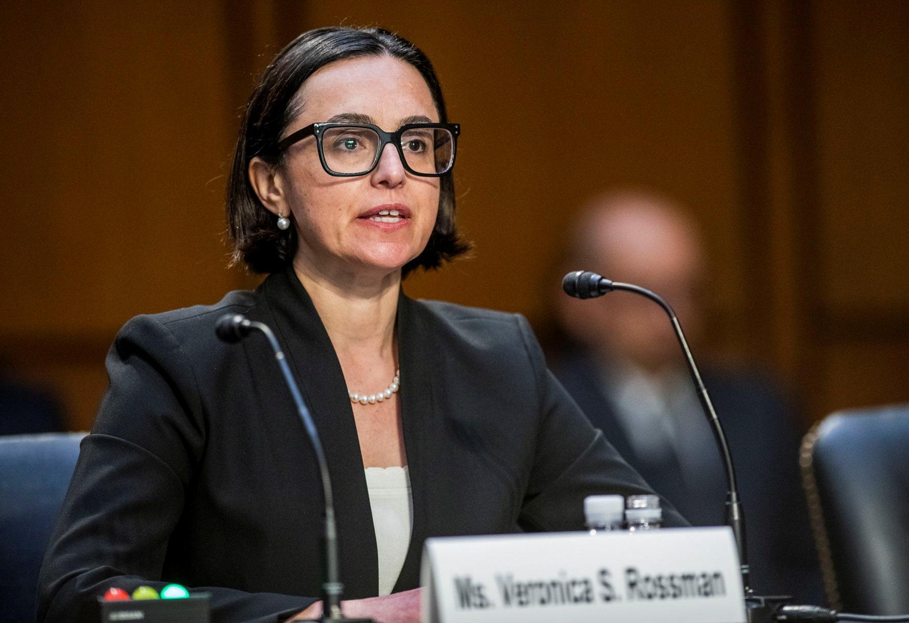 Veronica Rossman, nominated to a seat on the 10th U.S. Circuit Court of Appeals, testifies before a Senate hearing in Washington, June 9, 2021. David Rogowski/U.S. Senate/Handout via Reuters