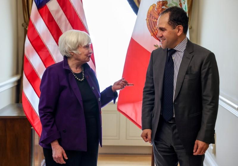 U.S. Secretary of the Treasury Janet Yellen and Mexican Finance Minister Arturo Herrera Gutierrez speak before a bilateral meeting at the U.S. Department of the Treasury in Washington, U.S., June 17, 2021. REUTERS/Evelyn Hockstein