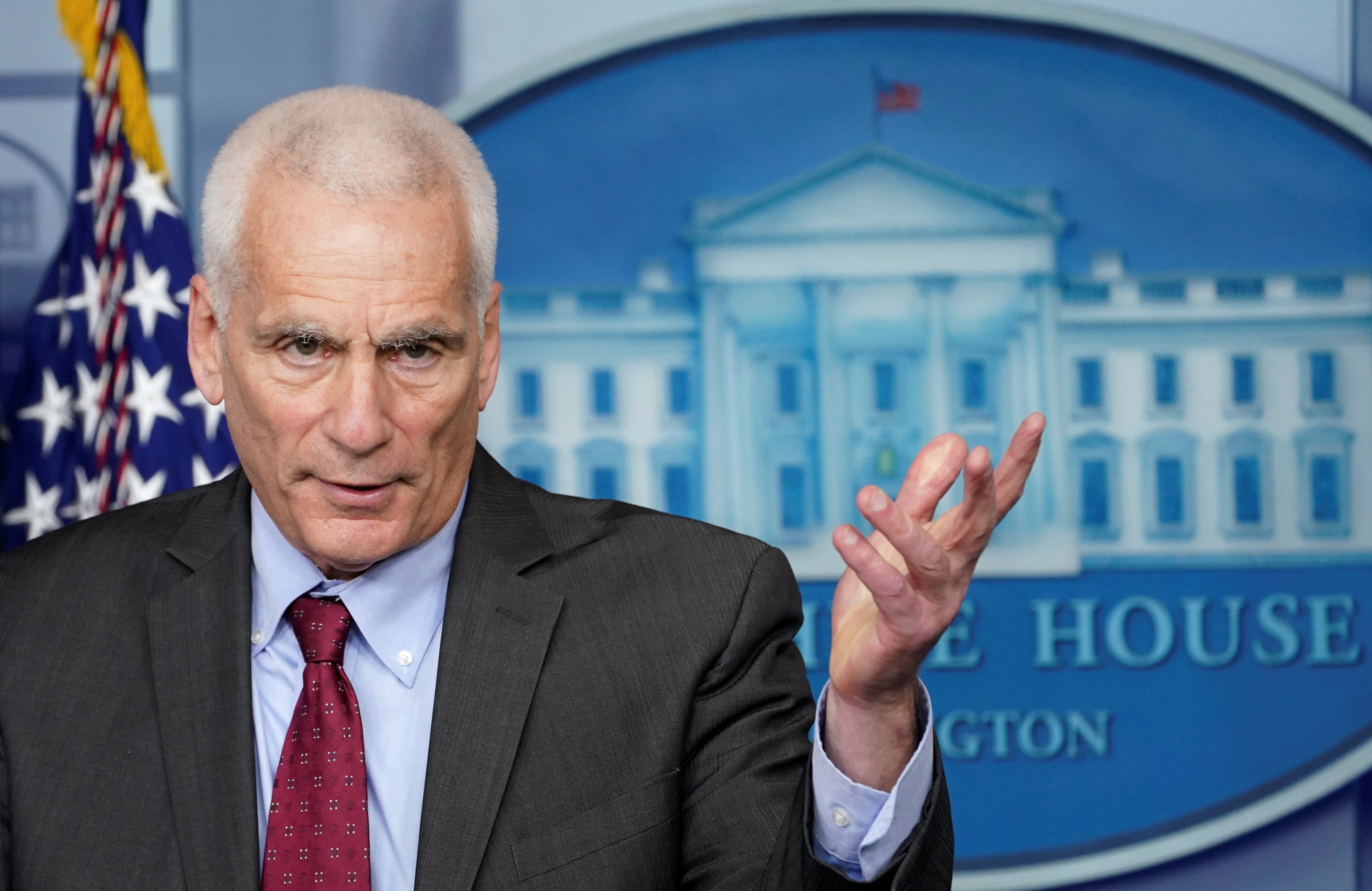 Council of Economic Advisers member Jared Bernstein speaks during a press briefing at the White House in Washington, U.S., February 5, 2021. REUTERS/Kevin Lamarque