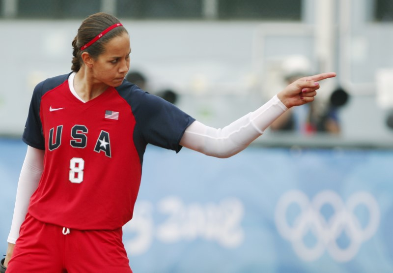 Pitcher Cat Osterman reacts after striking out an Australian batter during their softball game at the Beijing 2008 Olympic Games August 13, 2008.     REUTERS/Jessica Rinaldi (CHINA)