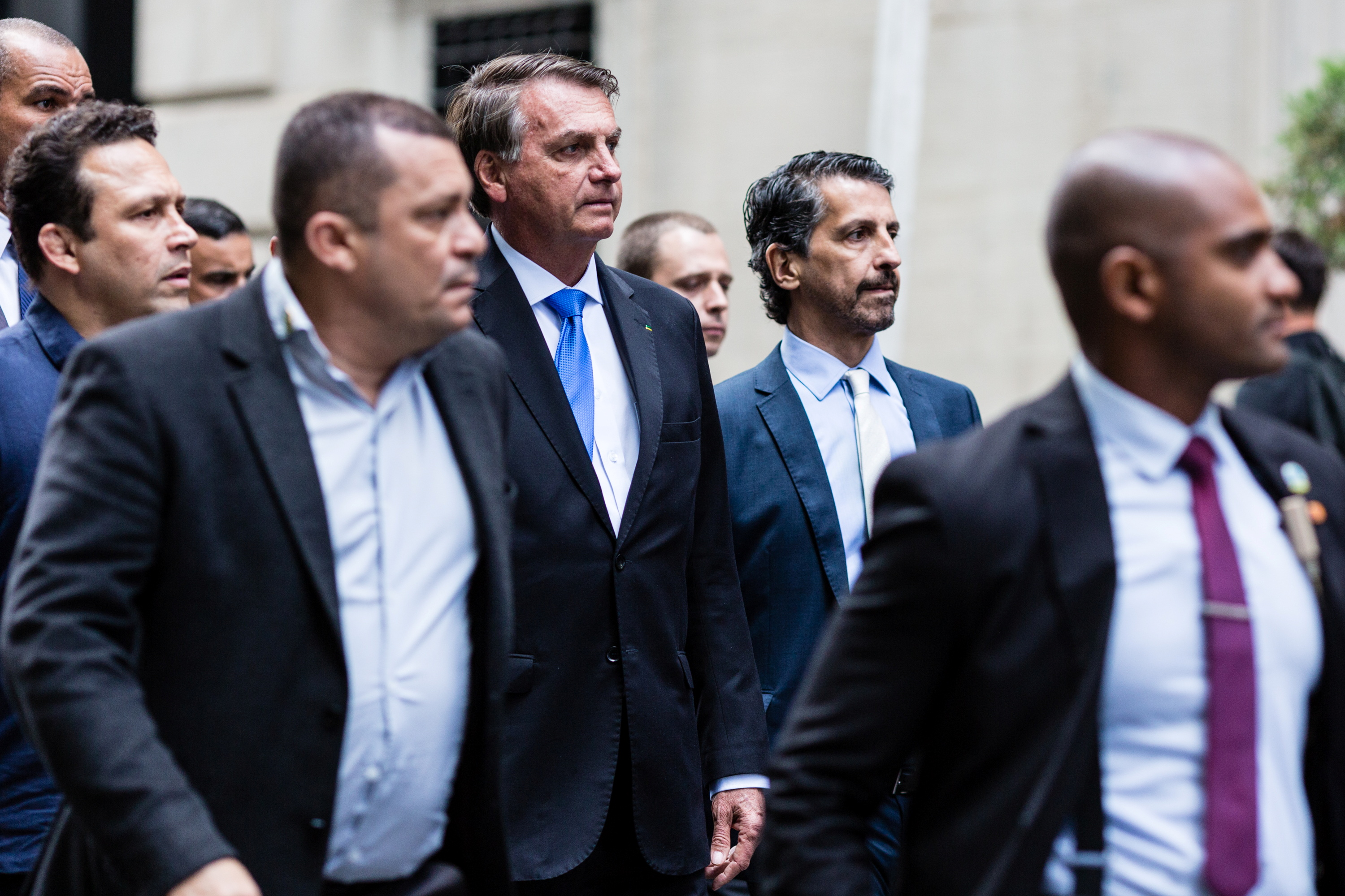 Brazil's President Jair Bolsonaro walks outside his hotel while attending the UN General Assembly 76th session General Debate at the United Nations, in New York City, U.S., September 20, 2021. REUTERS/Stefan Jeremiah