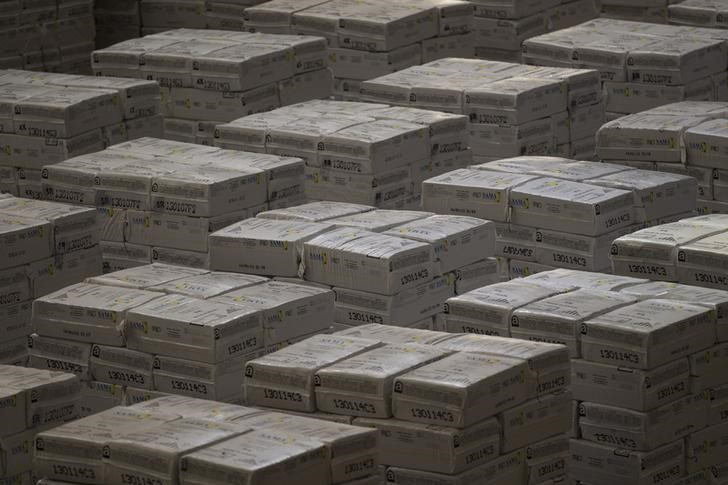 Chrysotile, or white asbestos, are pictured ready for shipping to customers. REUTERS/Ueslei Marcelino