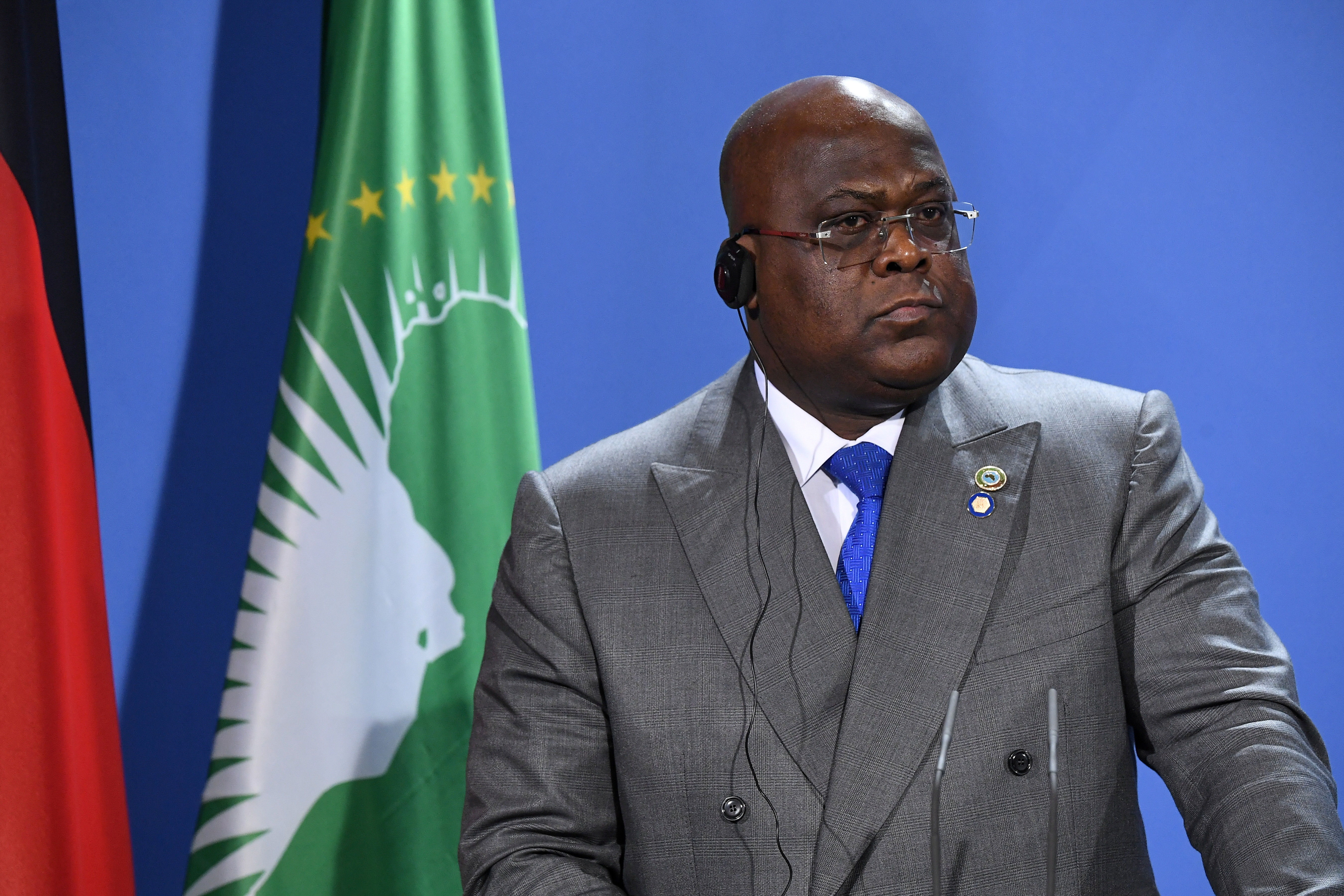 Felix Tshisekedi, President of the Democratic Republic of the Congo addresses a press conference after the G20 Compact with Africa conference at the Chancellery in Berlin, Germany August 27, 2021. Tobias Schwarz/Pool via REUTERS/File Photo