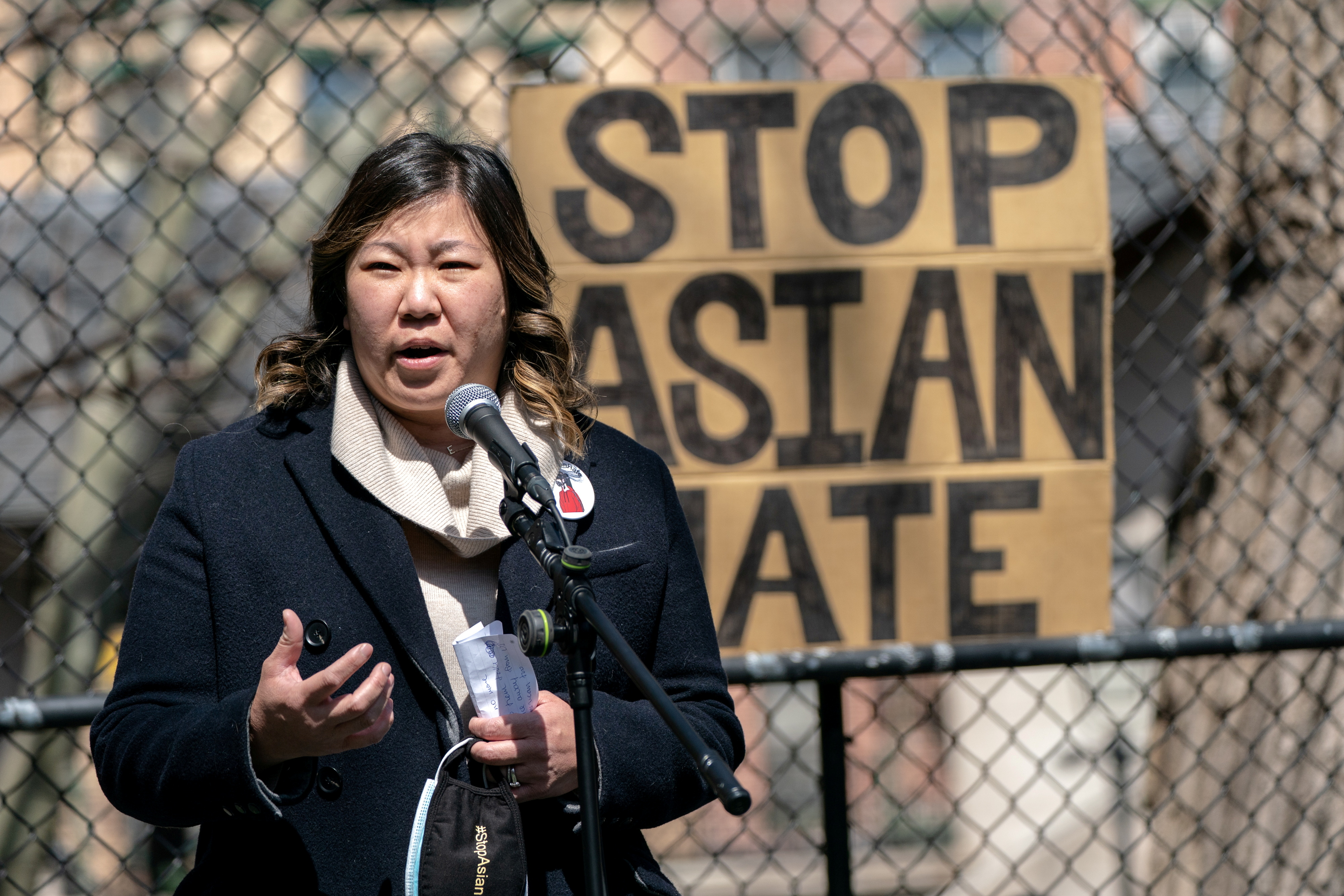 Congresswoman Grace Meng speaks during a Stop Asian Hate rally at Columbus Park in New York City, U.S., April 3, 2021. REUTERS/Jeenah Moon/File Photo