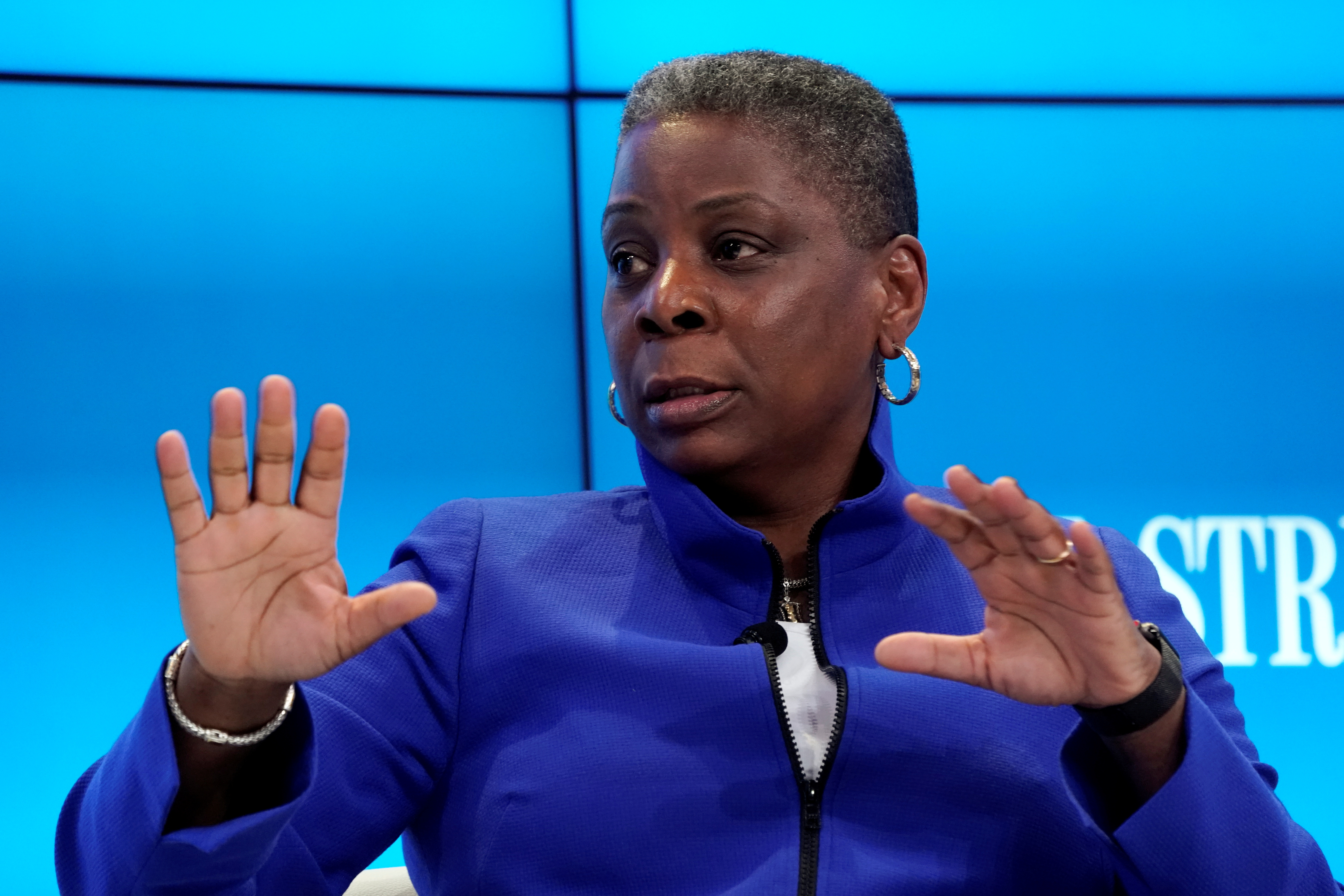 Ursula Burns, longtime board member of Exxon Mobil Corp and former CEO of Xerox, gestures during the World Economic Forum (WEF) annual meeting in Davos, Switzerland January 25, 2018. REUTERS/Denis Balibouse/File Photo